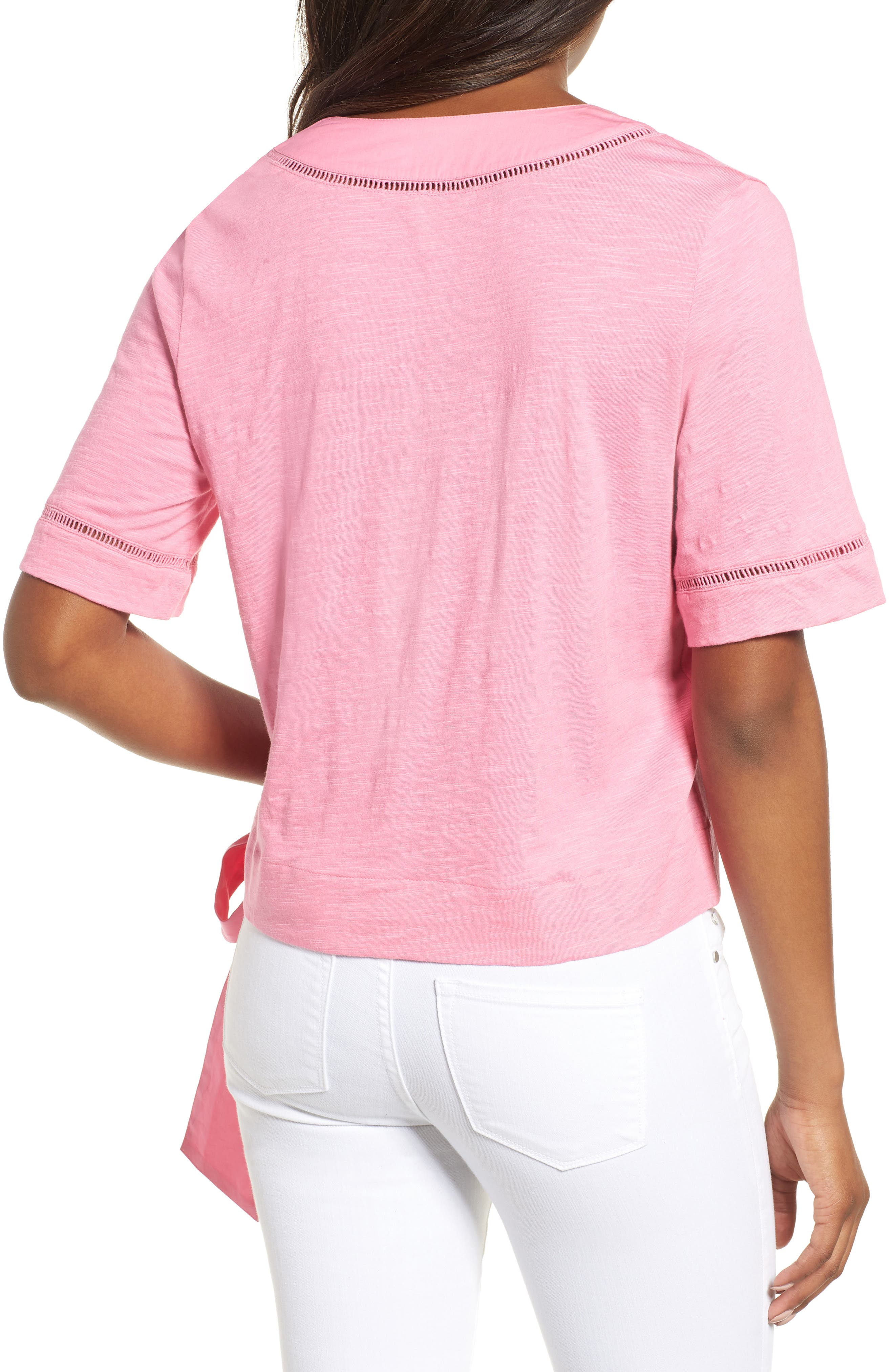 Tie Front Wrap Top,                             Alternate thumbnail 2, color,                             Pink Aurora