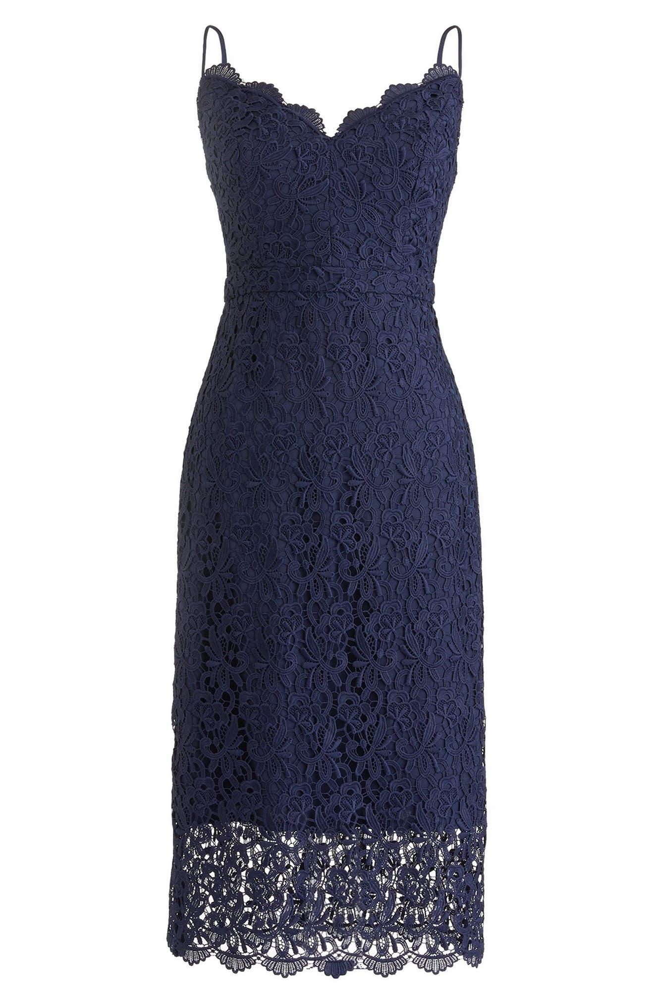 Guipure Lace Spaghetti Strap Dress,                         Main,                         color, Navy
