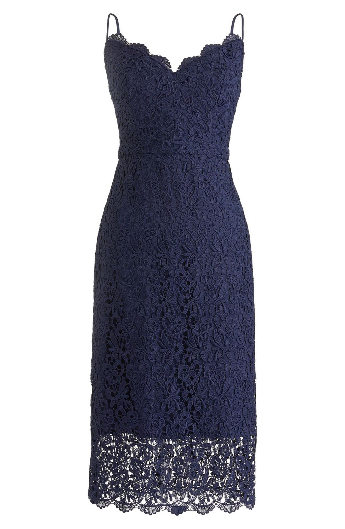 J.Crew Guipure Lace Spaghetti Strap Dress,                         Main,                         color, Navy