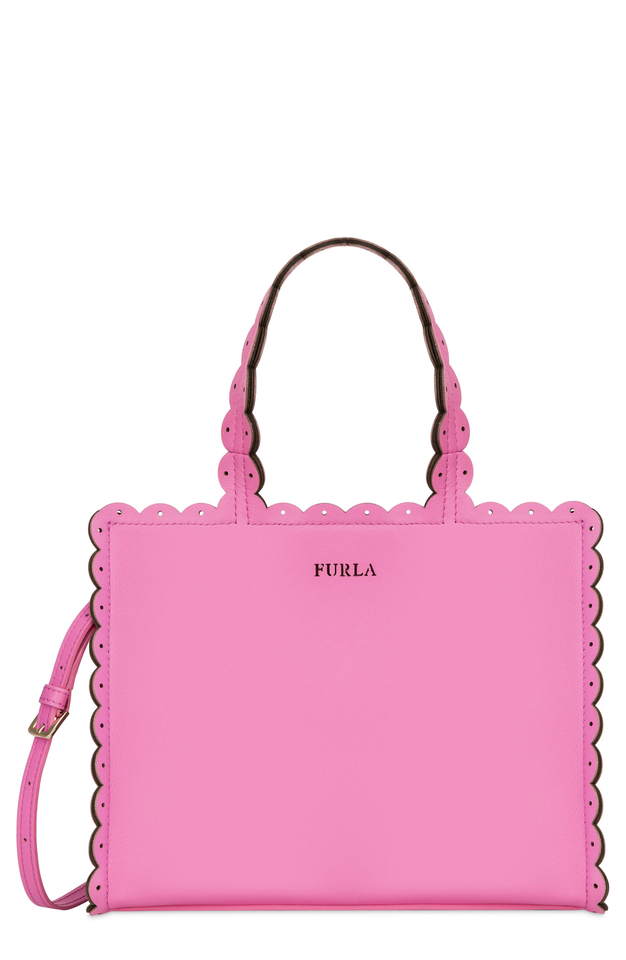 Small Merletto Leather Tote,                             Main thumbnail 1, color,                             Orchidea D