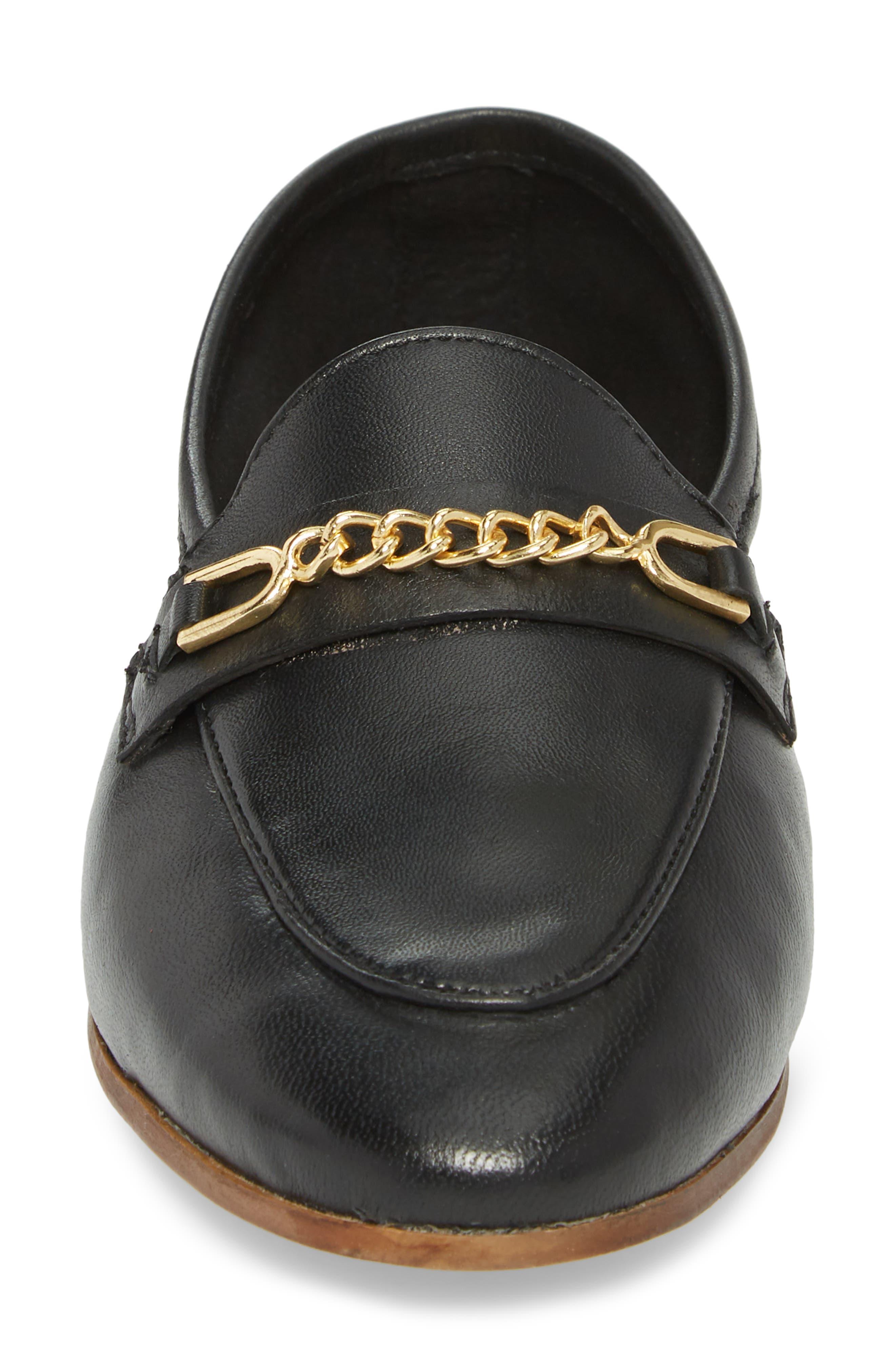 Chain Trim Apron Toe Loafer,                             Alternate thumbnail 4, color,                             Black