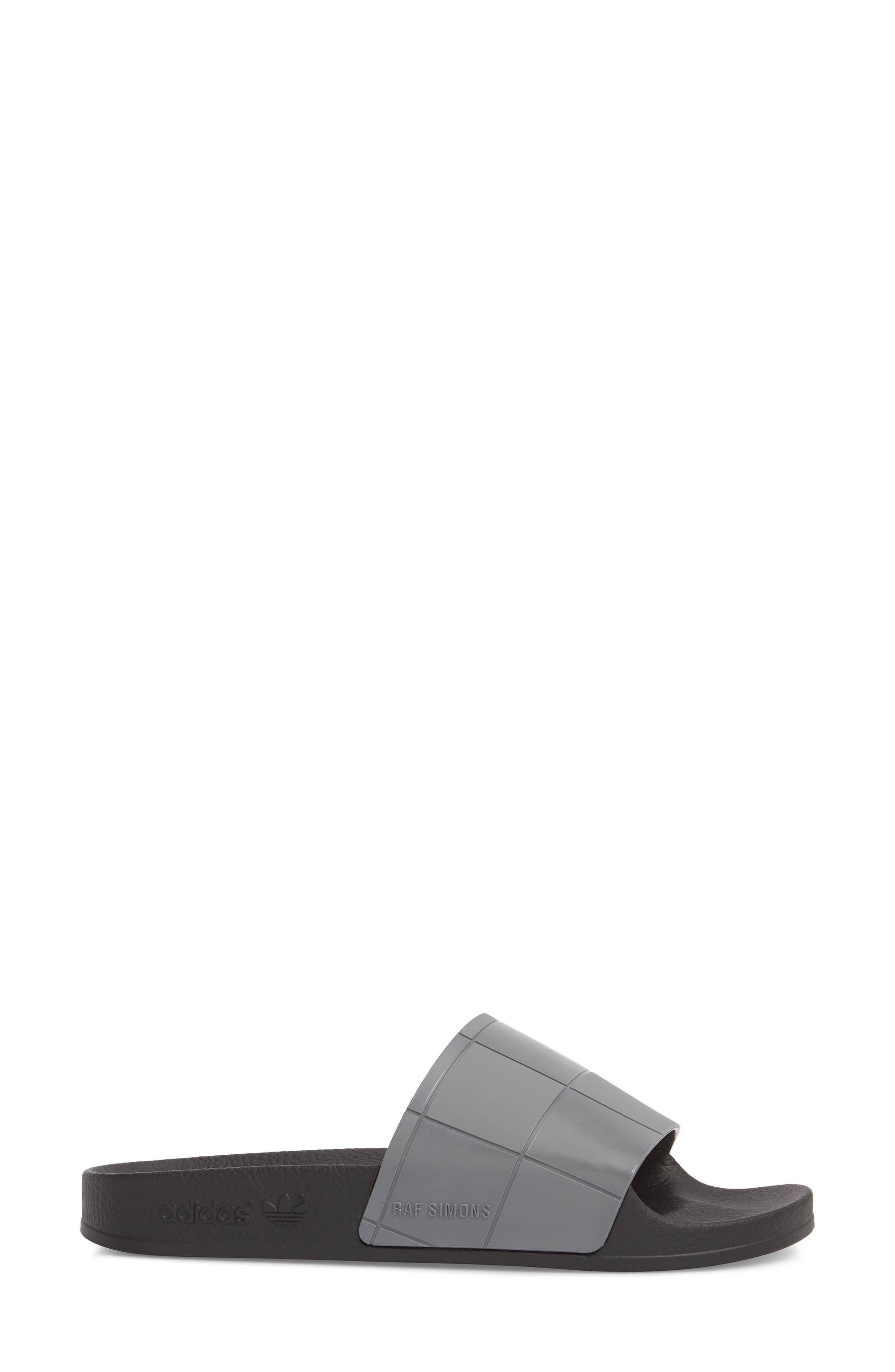 Adilette Slide Sandal,                             Alternate thumbnail 3, color,                             Core Black/ Granite