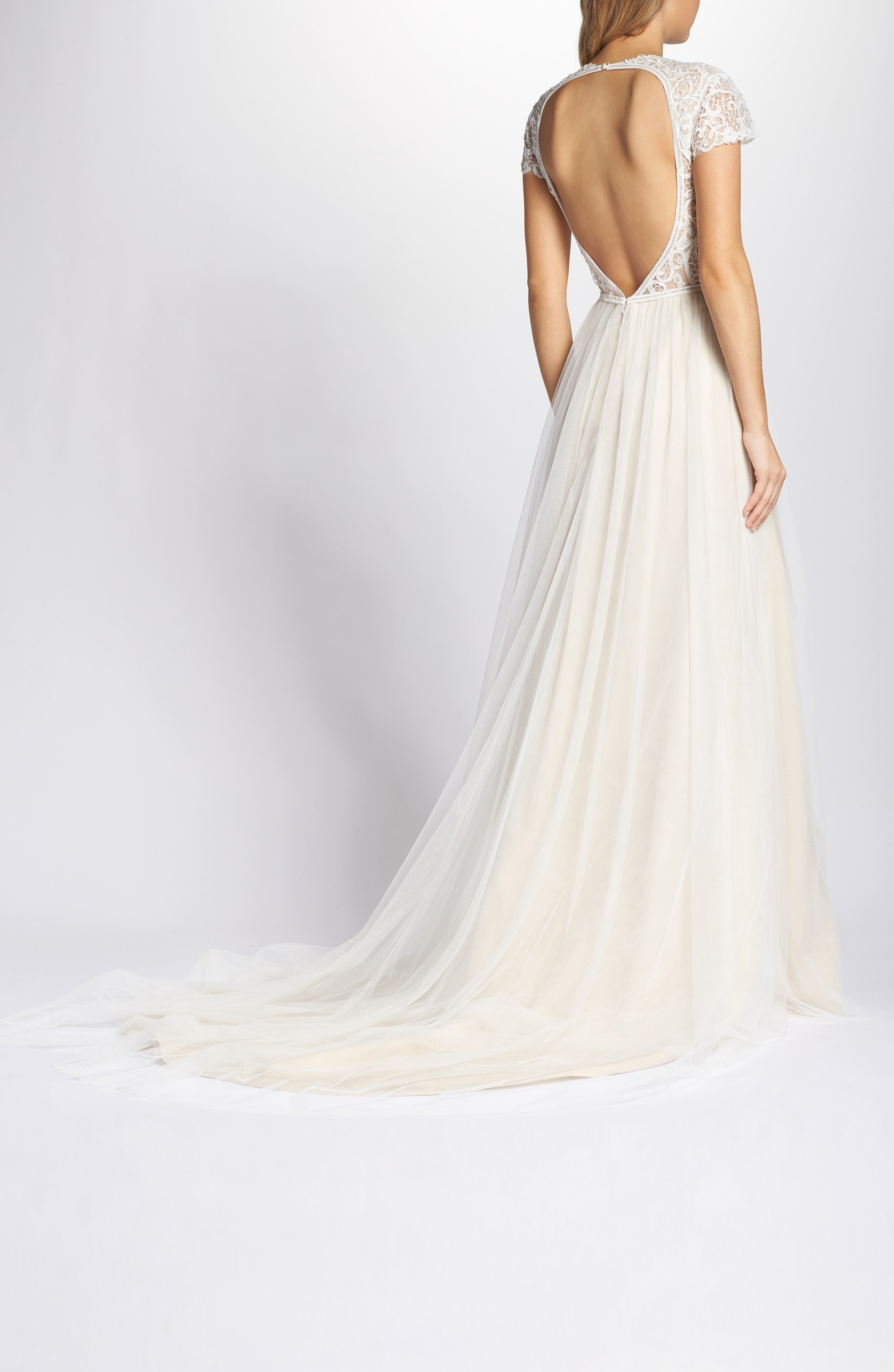 Lace & Tulle A-Line Gown,                             Alternate thumbnail 2, color,                             Ivory/Cashmere