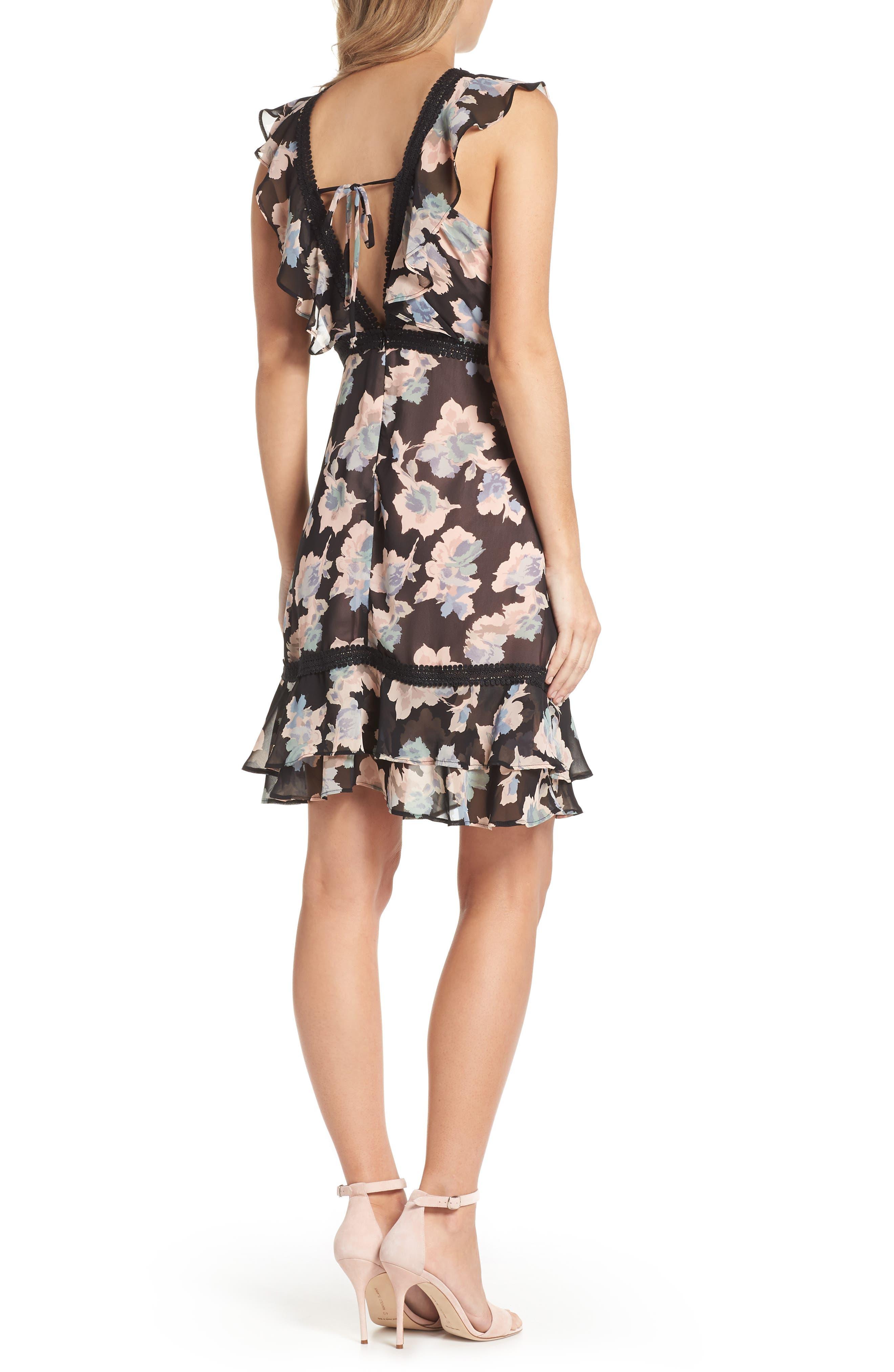 Alternate Image 2  - Mary & Mabel Floral Ruffle Hem Fit & Flare Dress