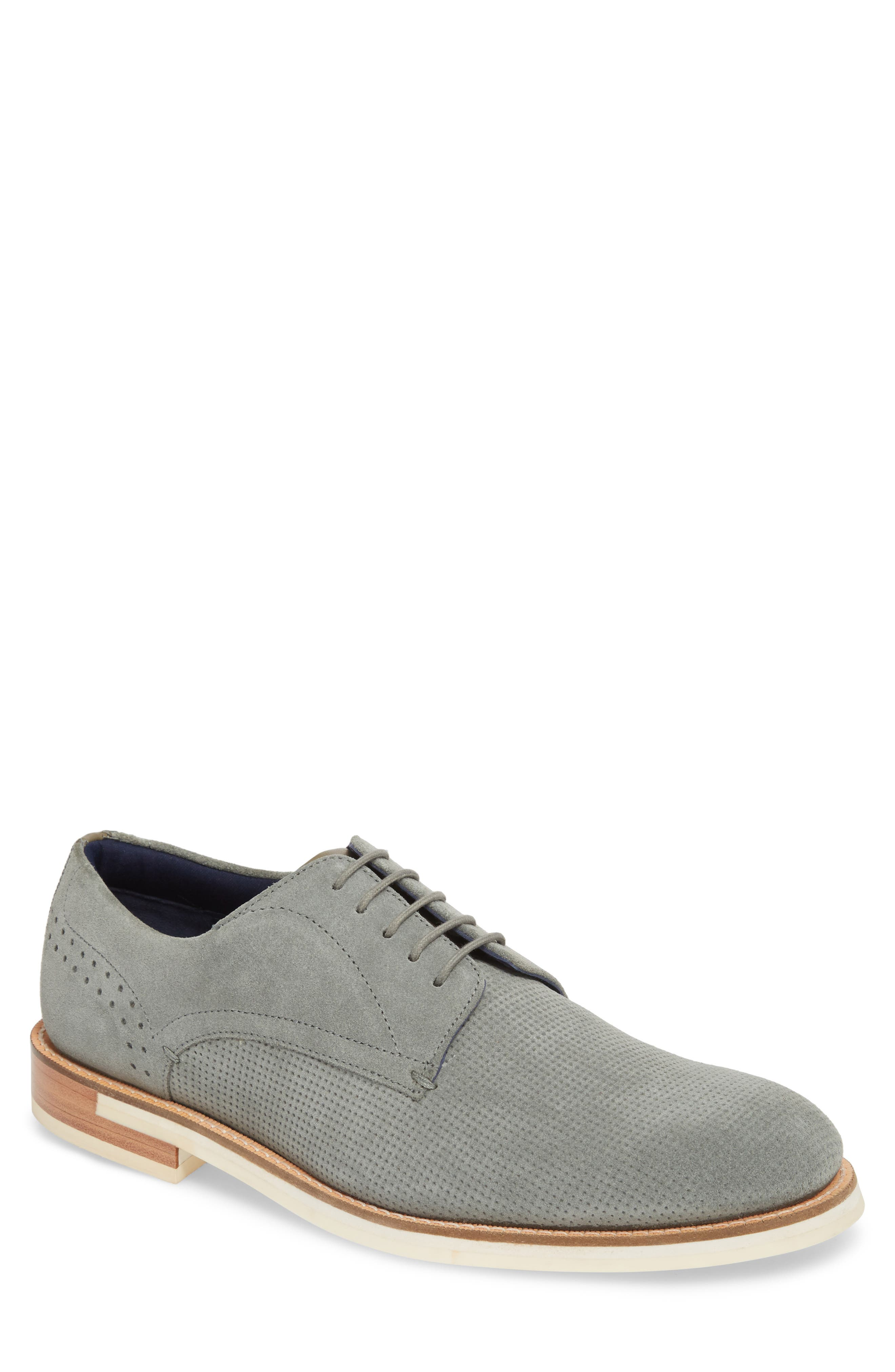 Lapiin Embossed Plain Toe Derby,                             Main thumbnail 1, color,                             Grey Suede