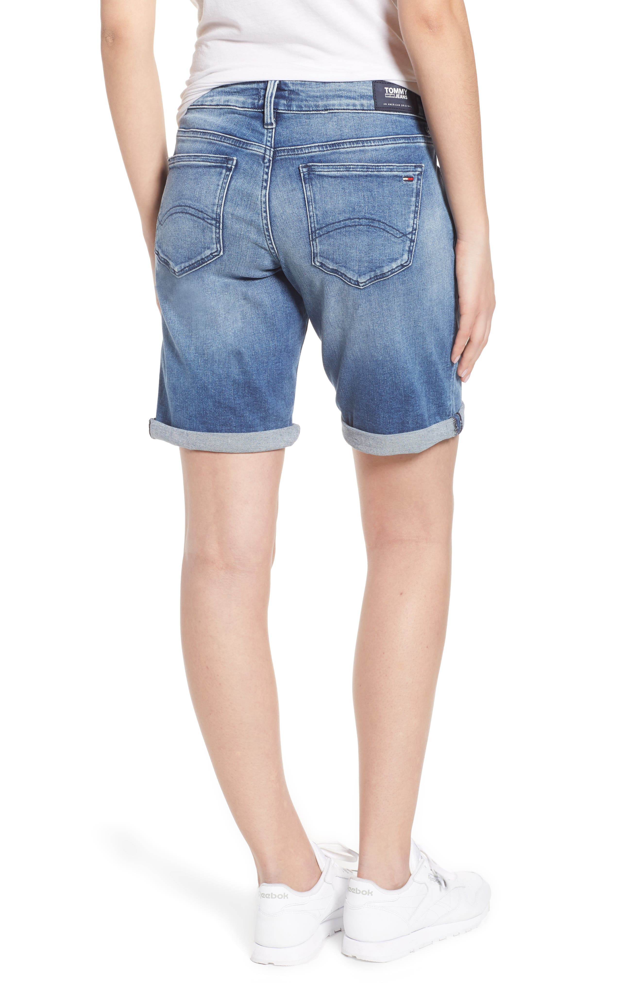Classic Long Denim Shorts,                             Alternate thumbnail 3, color,                             Newport Mid Blue Str