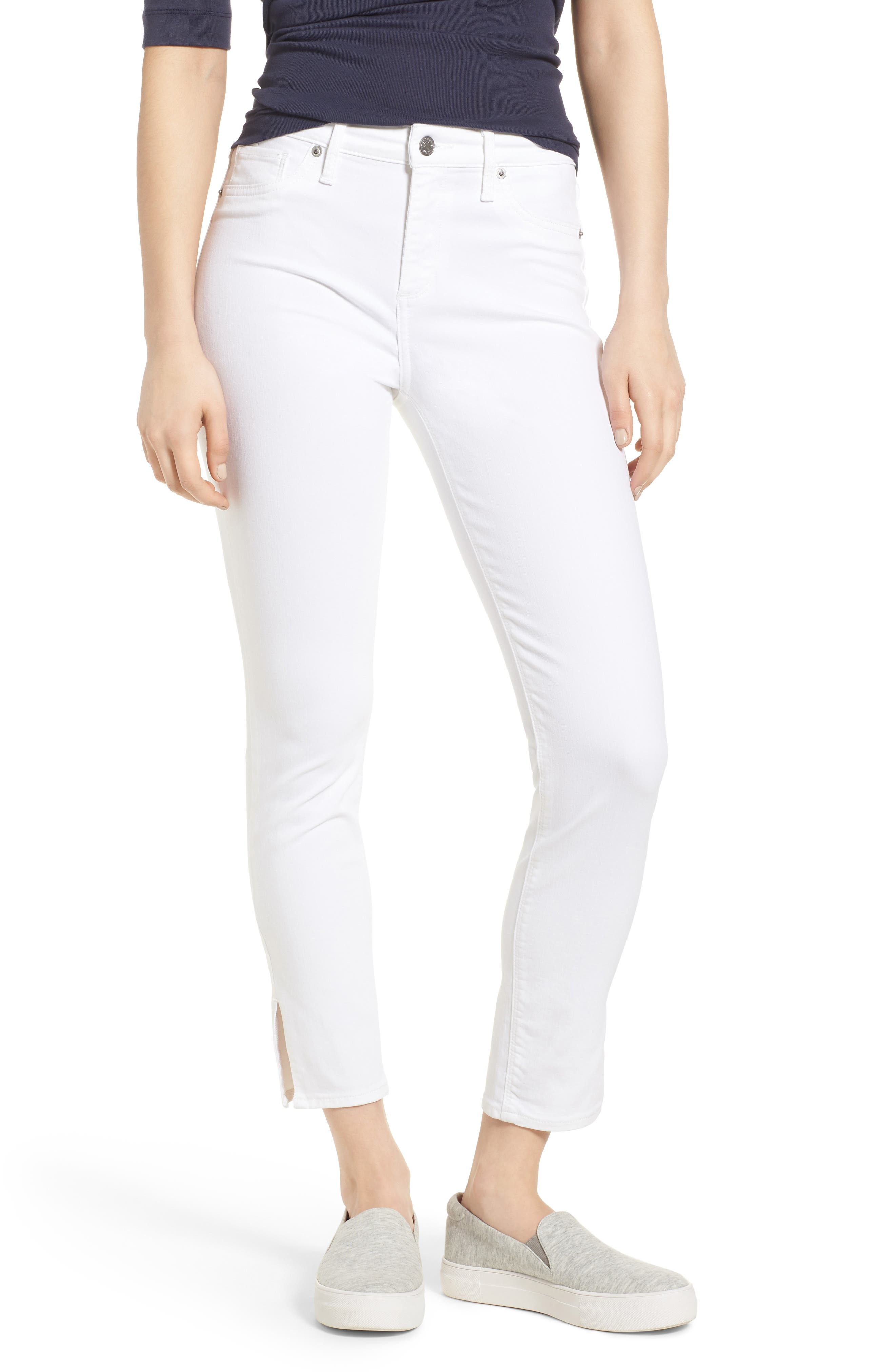 Ava Skinny White Jeans,                             Main thumbnail 1, color,                             Clean White