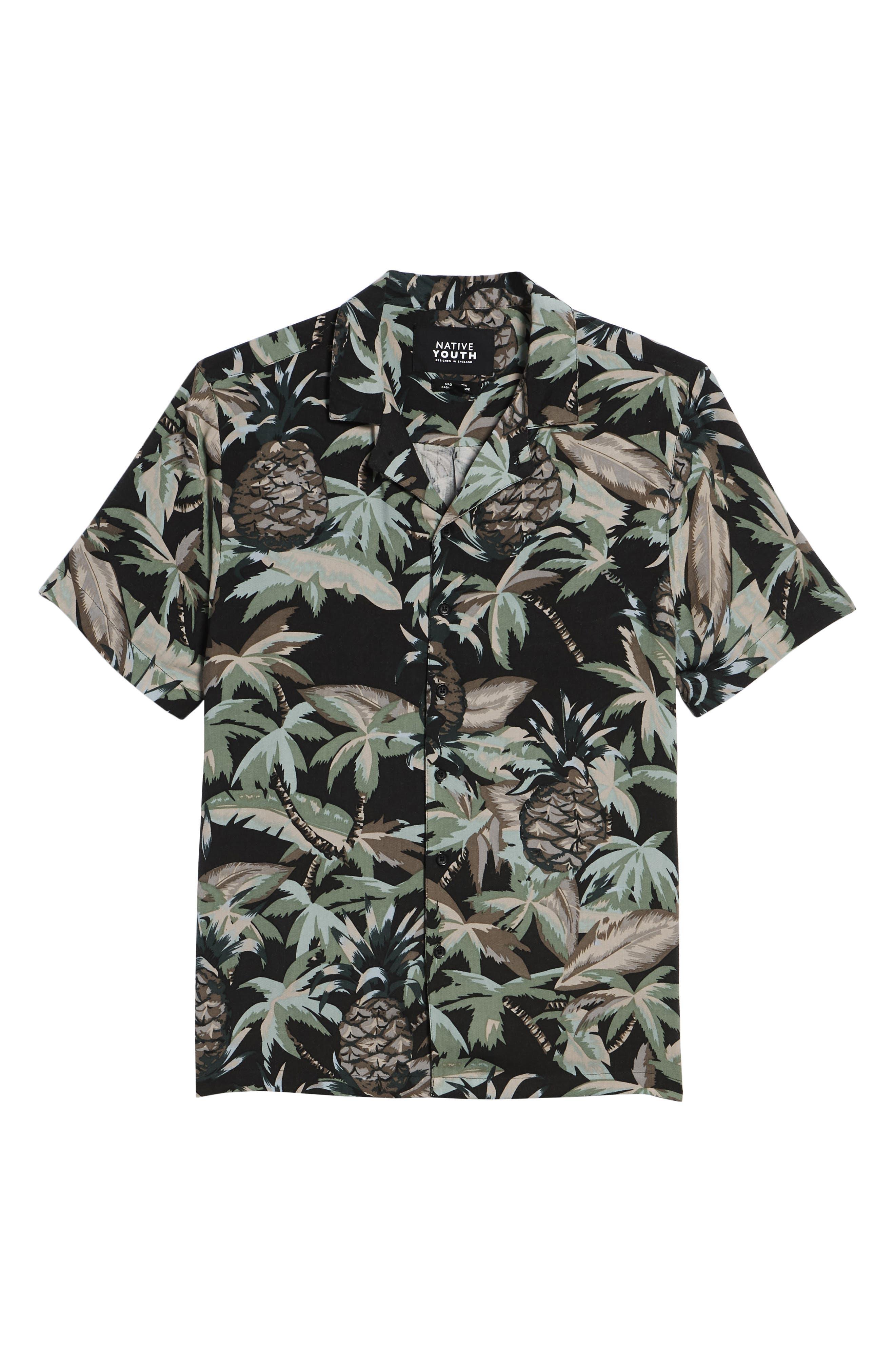 Night Beach Woven Shirt,                             Alternate thumbnail 6, color,                             Black