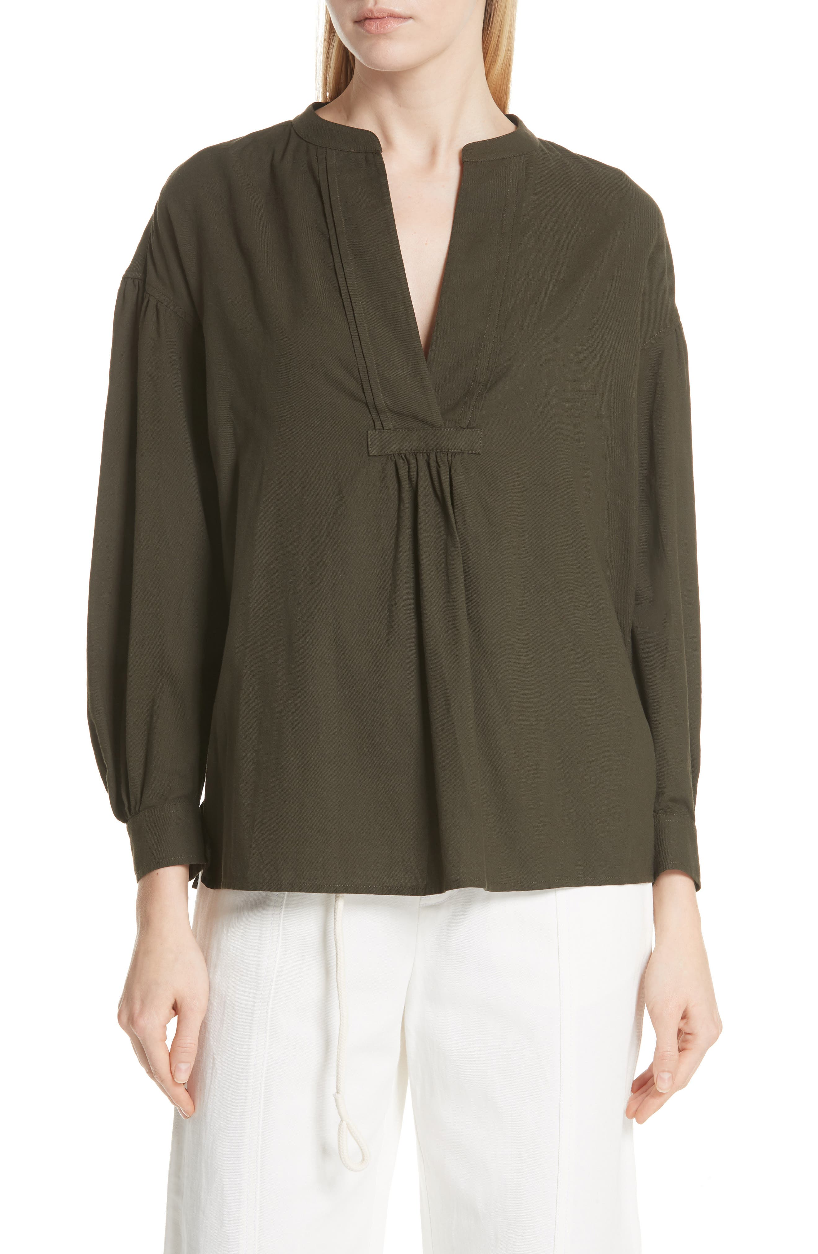 Shirred Cotton Blouse,                             Main thumbnail 1, color,                             Pinon Green