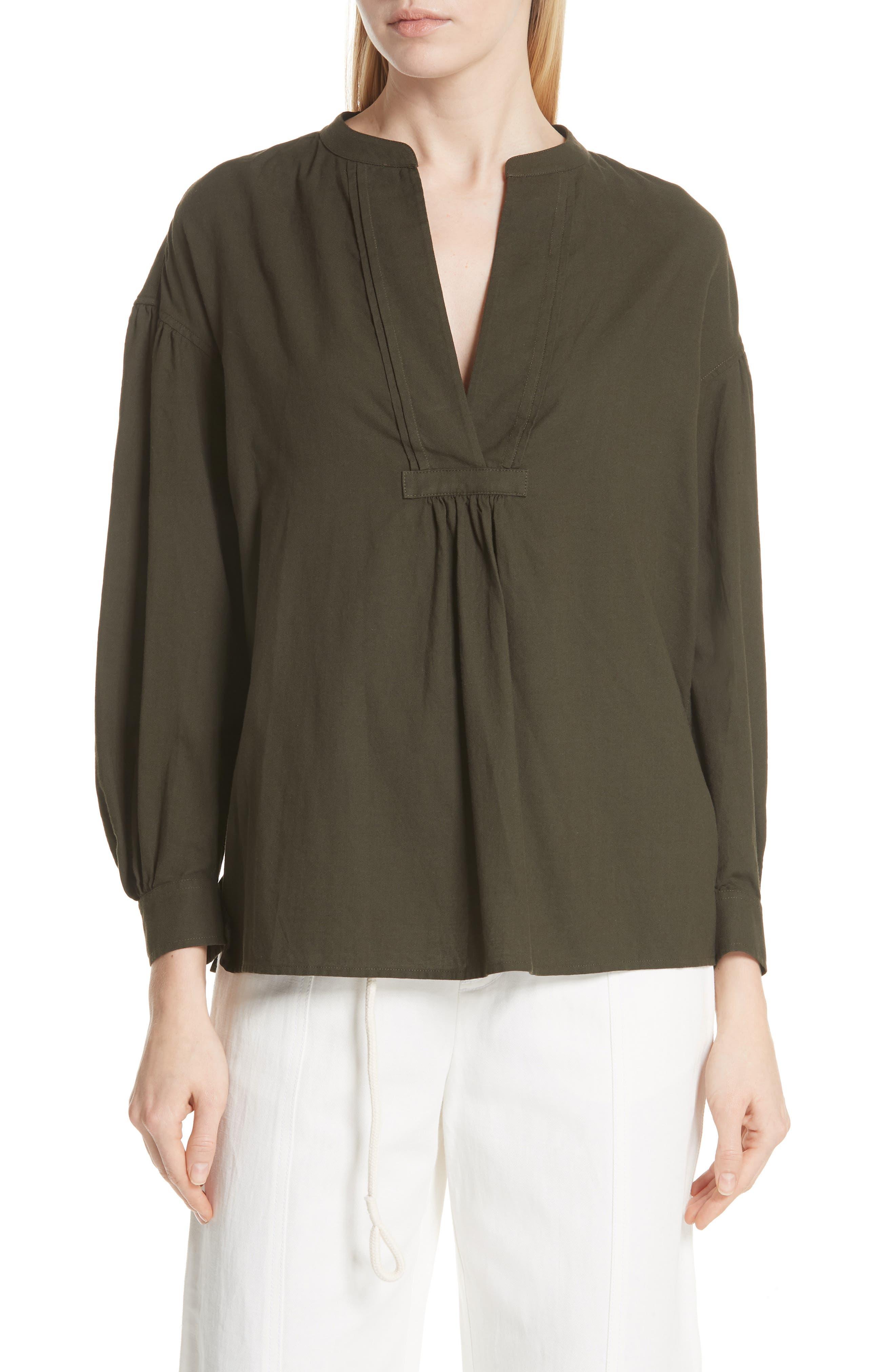Shirred Cotton Blouse,                         Main,                         color, Pinon Green