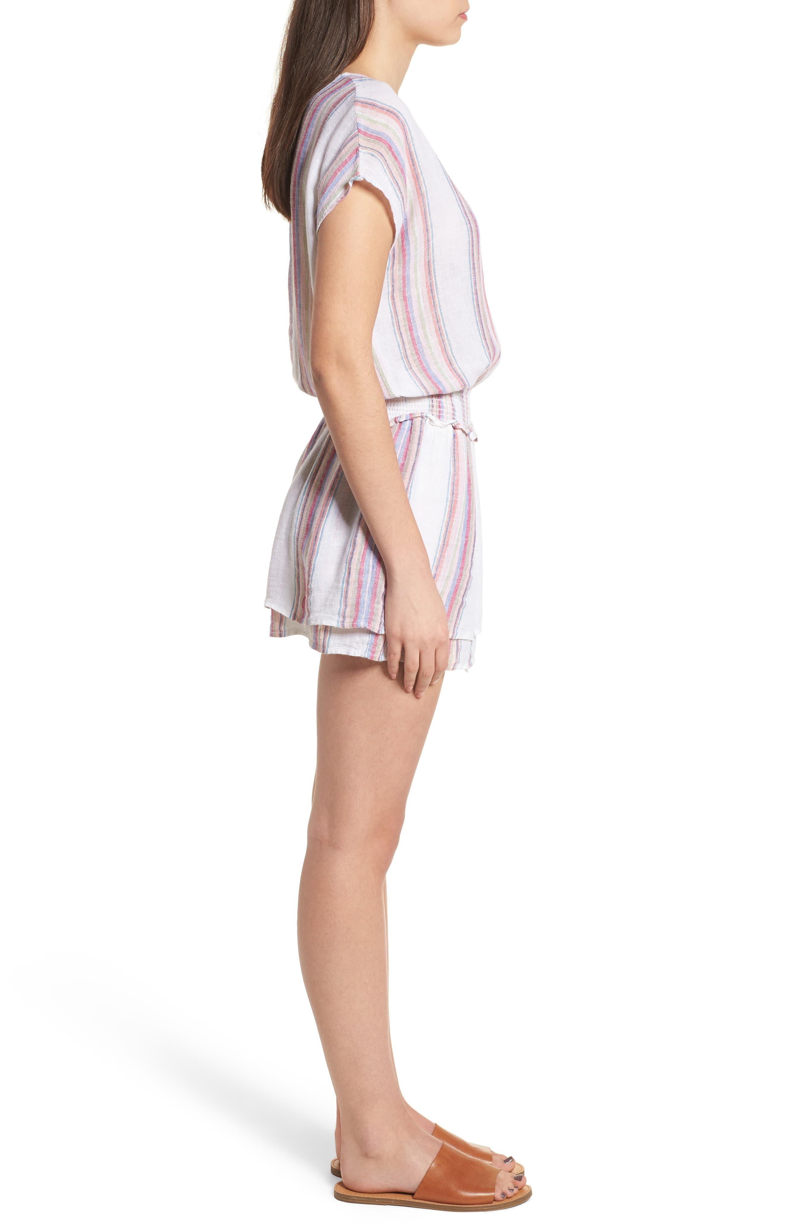 Lucca Linen Blend Dress,                             Alternate thumbnail 3, color,                             Havana Stripe