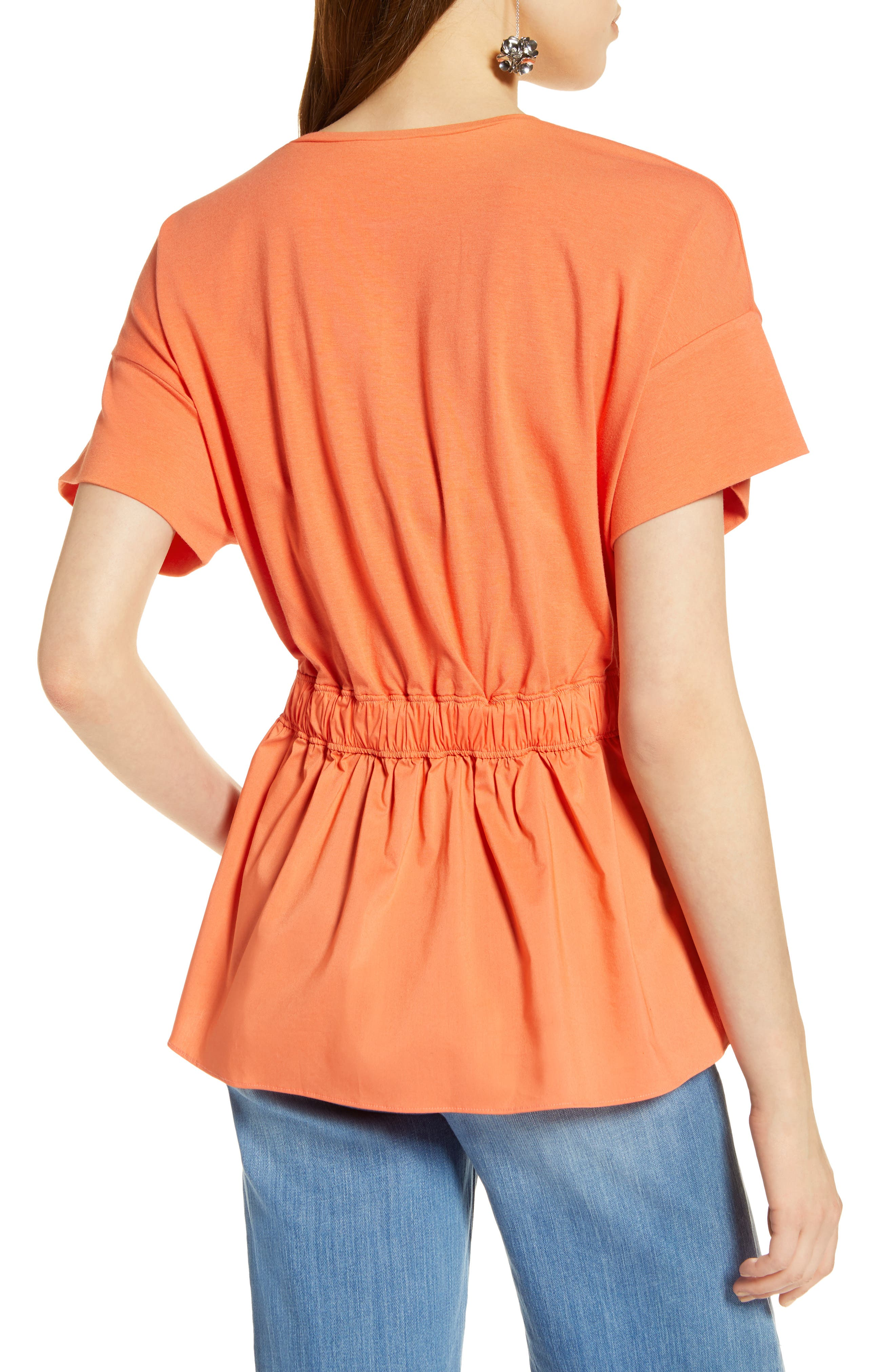 Gathered Waist Top,                             Alternate thumbnail 2, color,                             Coral Ocean