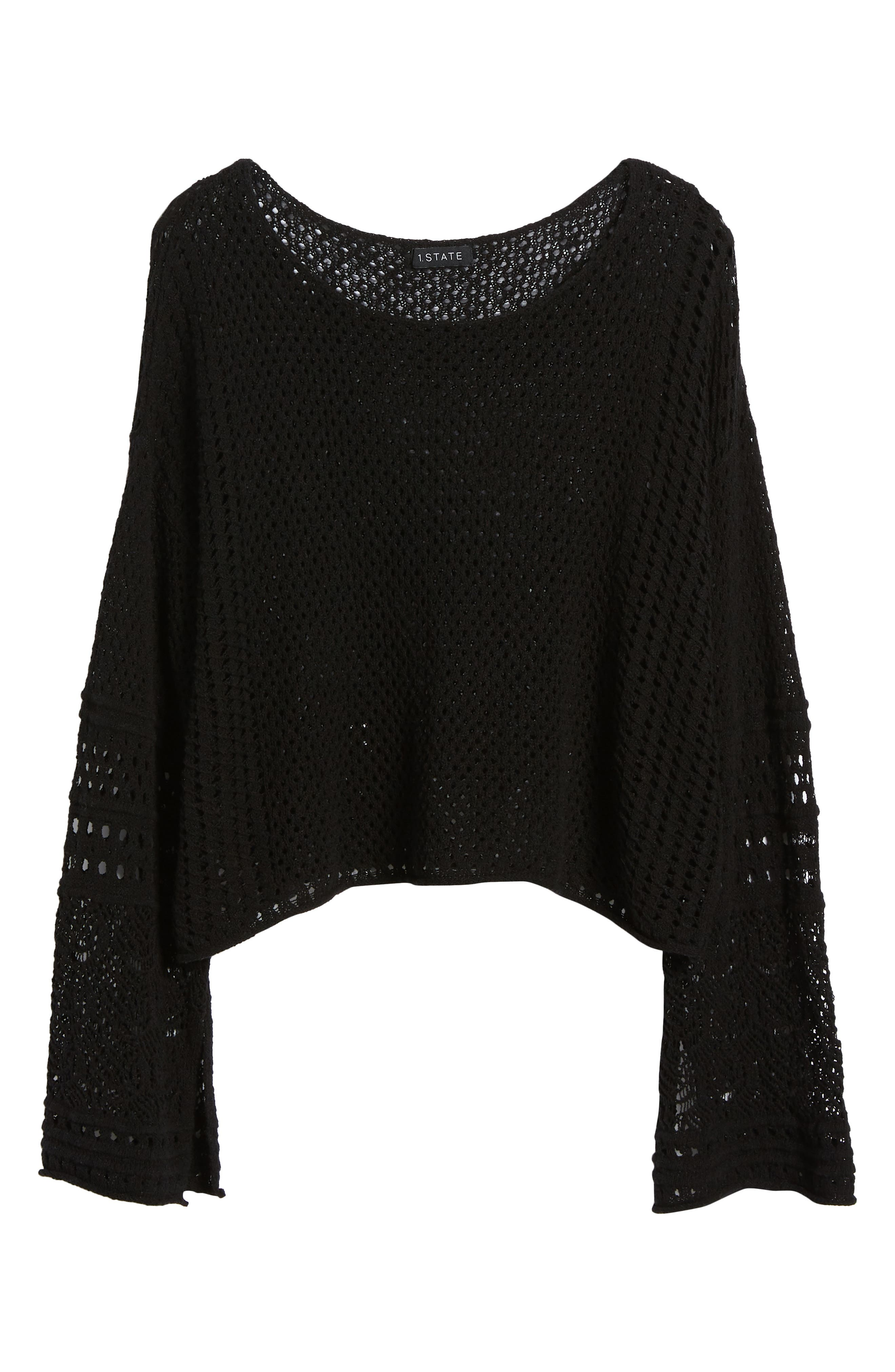 Pointelle Stitch Bell Sleeve Sweater,                             Alternate thumbnail 7, color,                             Rich Black