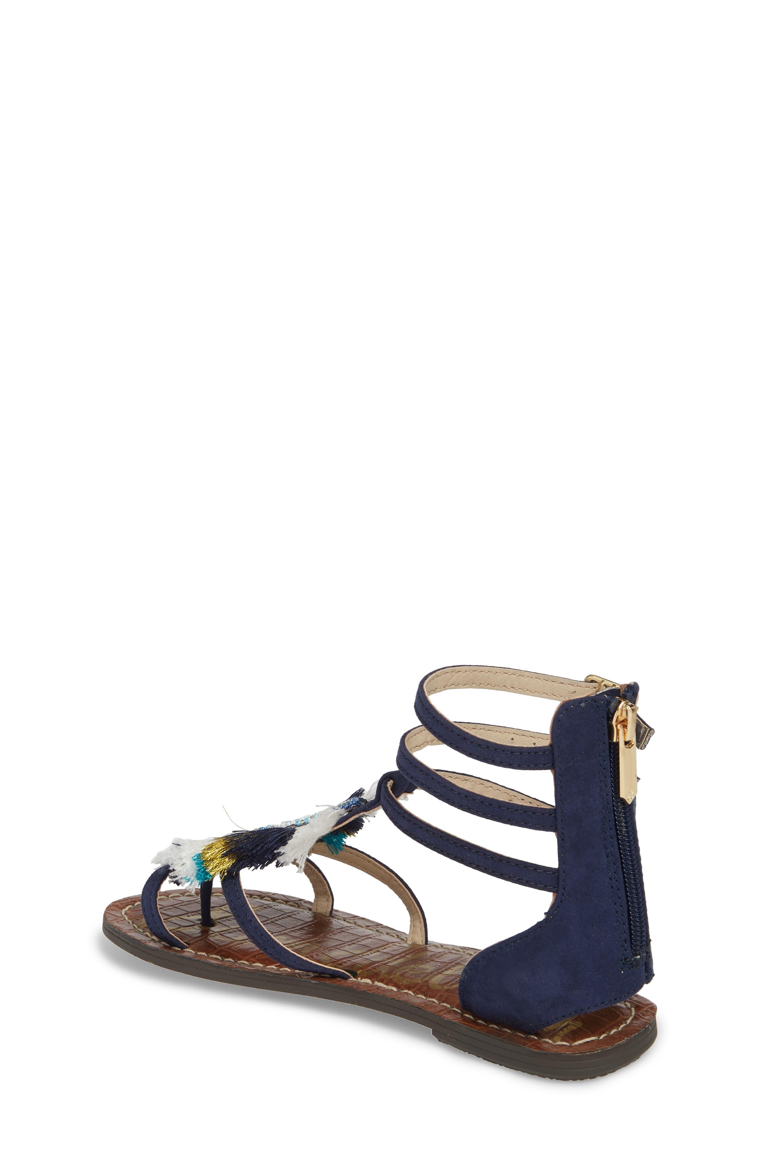 Gigi Giselle Embellished Sandal,                             Alternate thumbnail 2, color,                             Navy Faux Suede