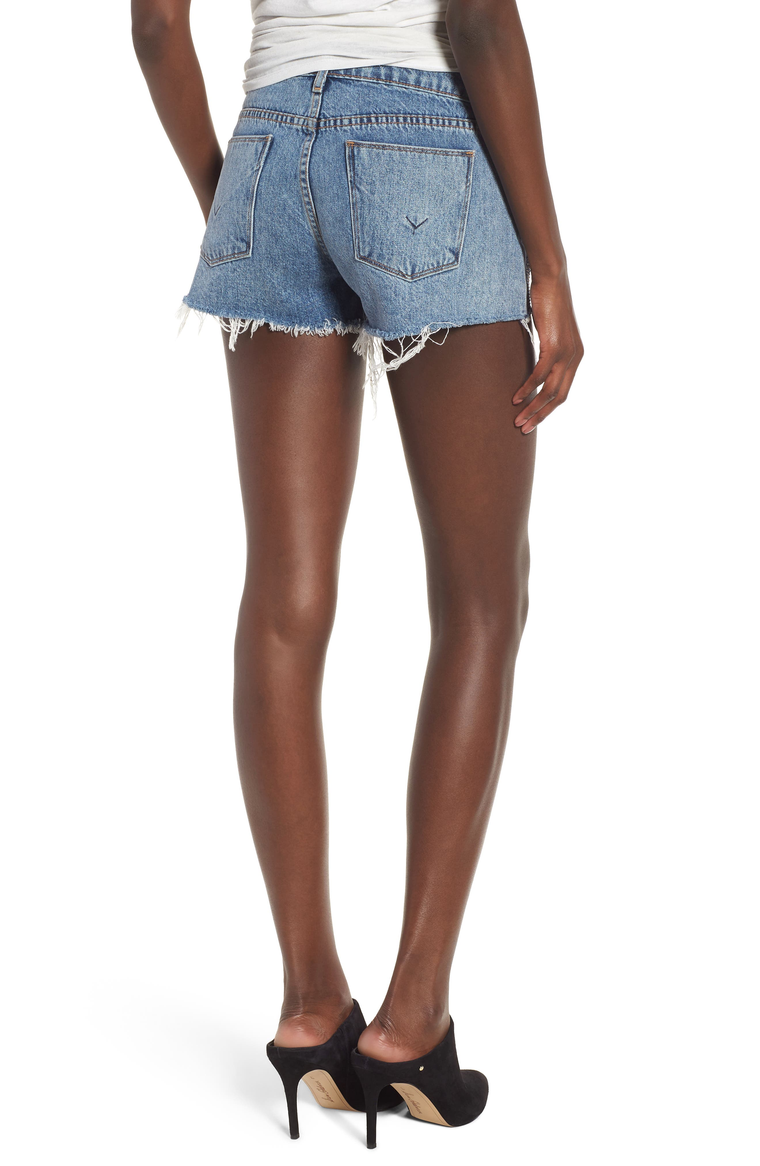 Kenzie Studded Cutoff Denim Shorts,                             Alternate thumbnail 2, color,                             Metal Mark
