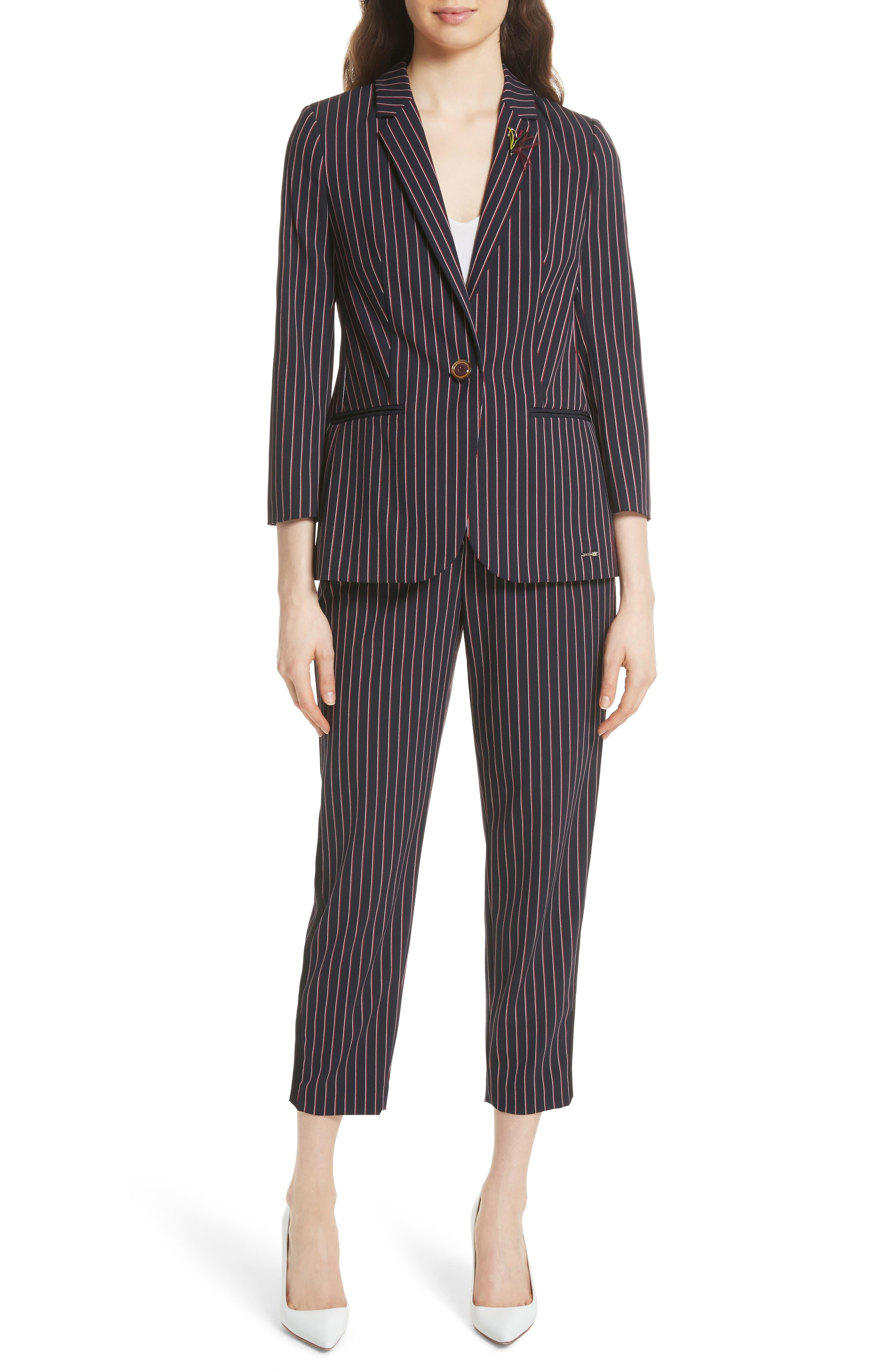 Pinstripe Suit Jacket,                             Alternate thumbnail 5, color,                             Navy