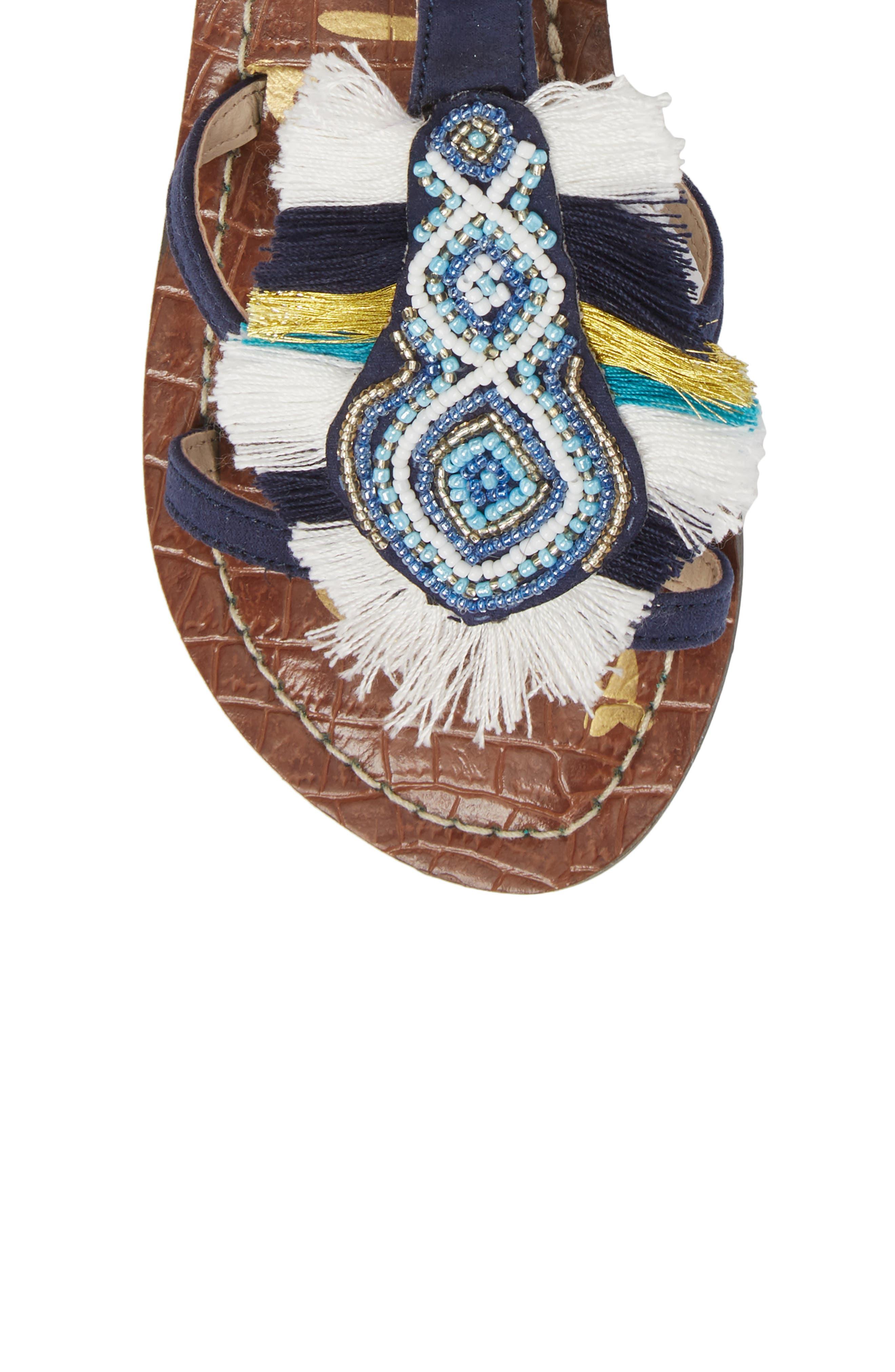 Gigi Giselle Embellished Sandal,                             Alternate thumbnail 5, color,                             Navy Faux Suede
