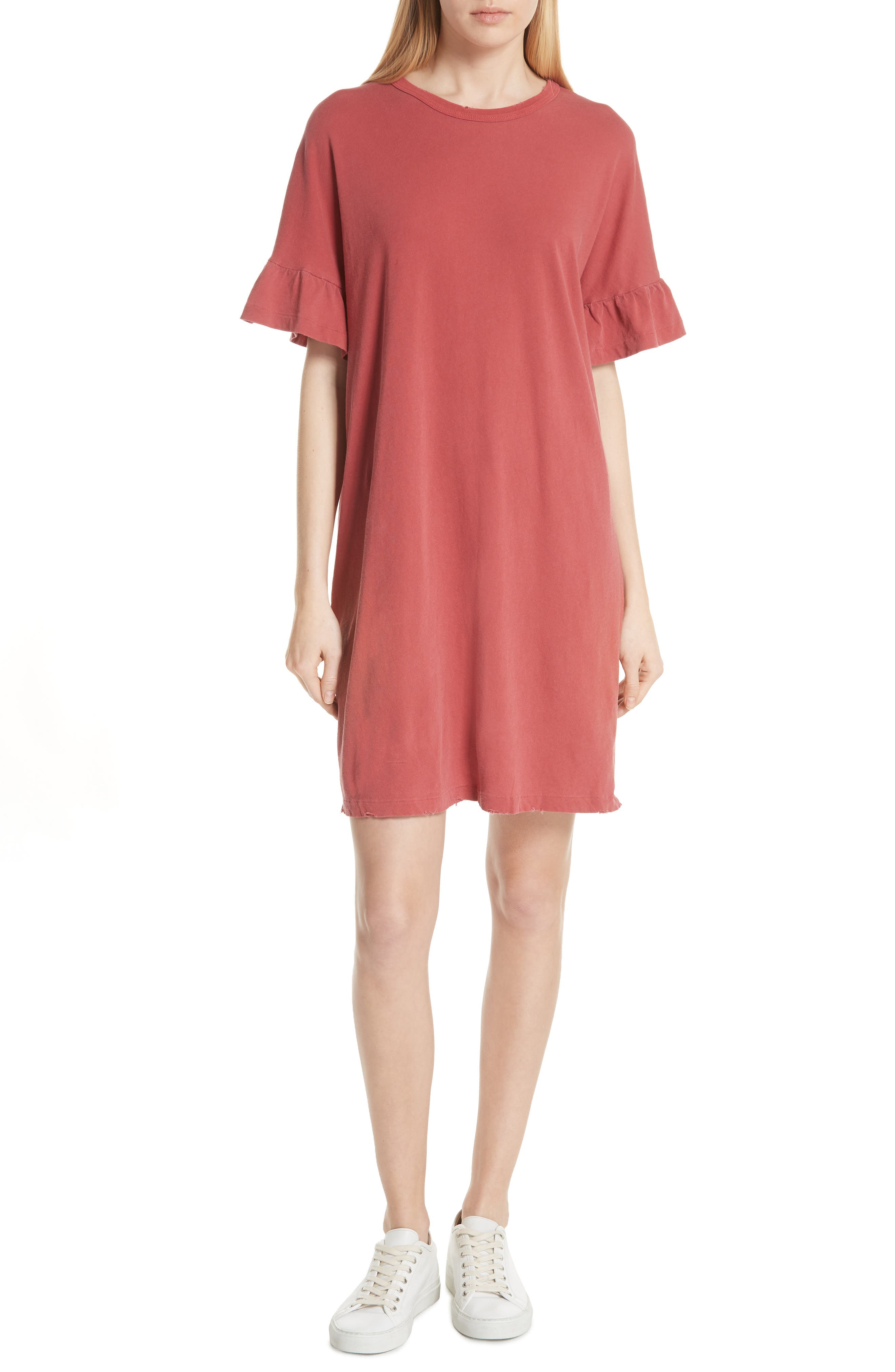 THE GREAT. Ruffle Sleeve T-Shirt Dress