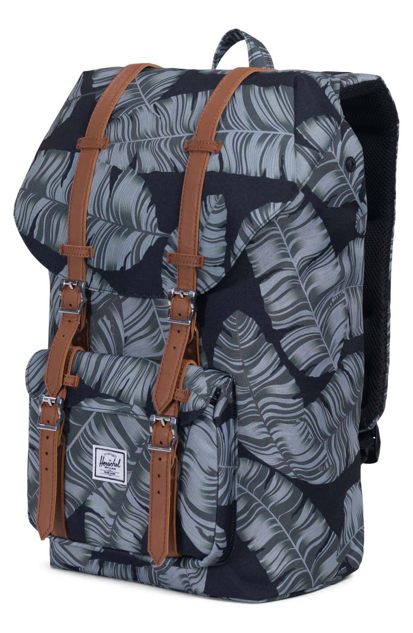 Little America Palm Print Backpack,                             Alternate thumbnail 4, color,                             Black Palm