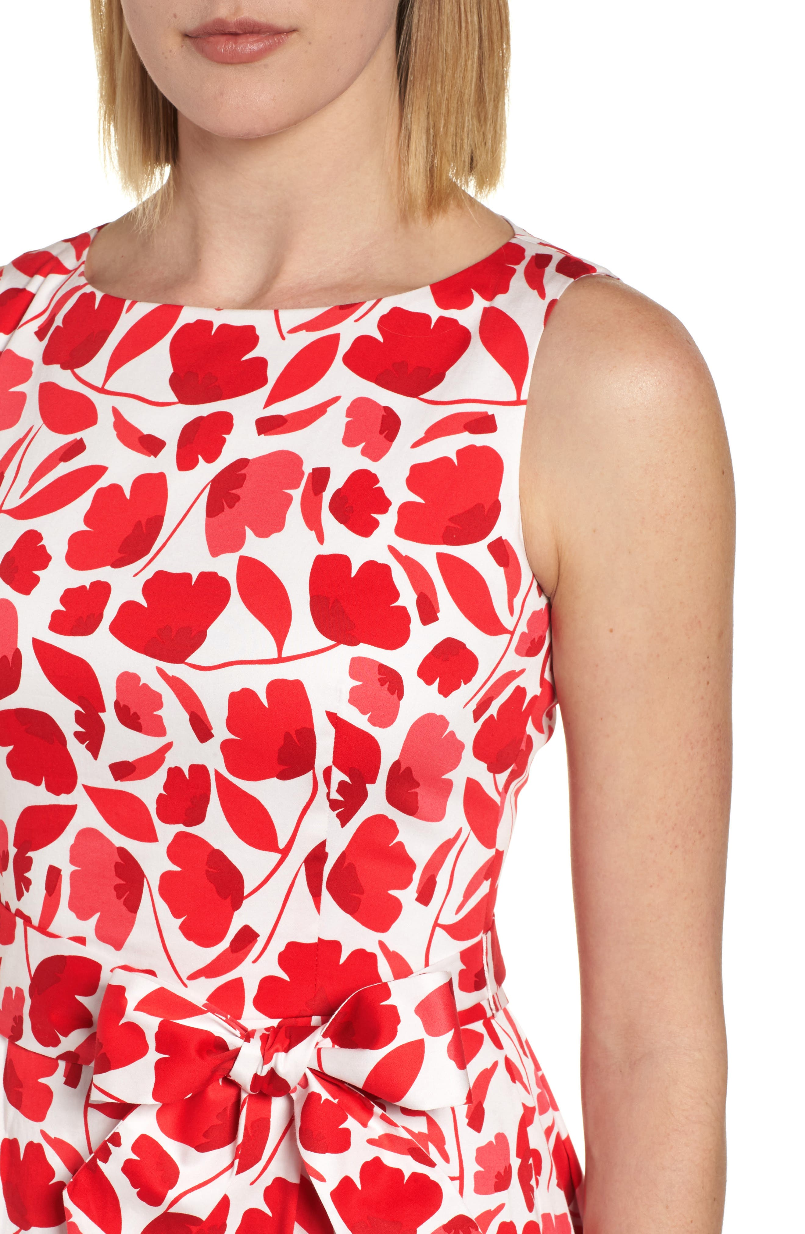 Floral Fit & Flare Dress,                             Alternate thumbnail 4, color,                             Tomato Combo