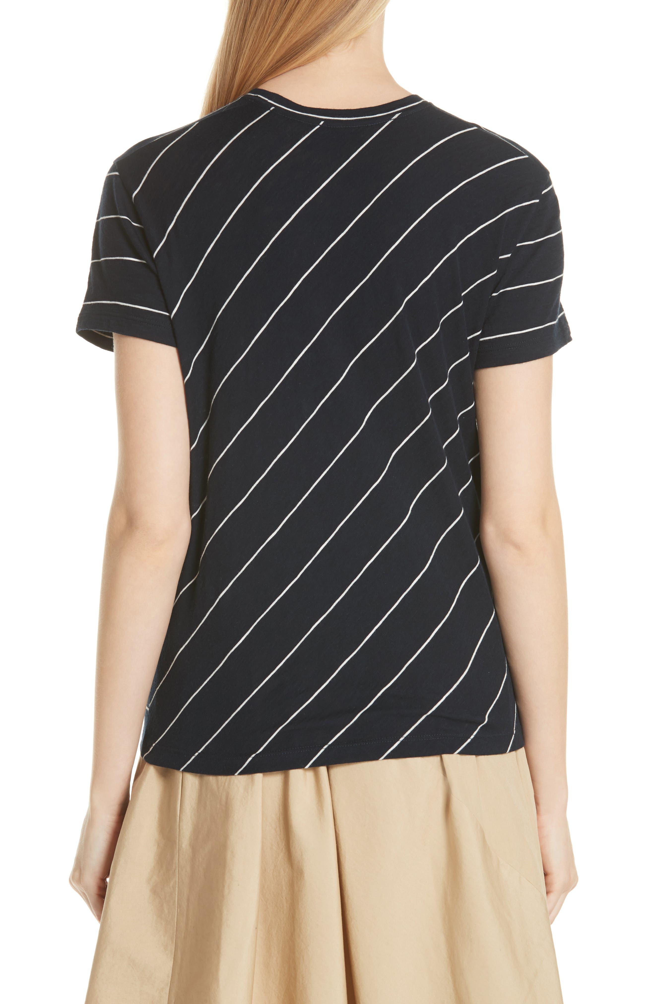 Skinny Stripe Pima Cotton Top,                             Alternate thumbnail 2, color,                             Coastal/ Vanilla