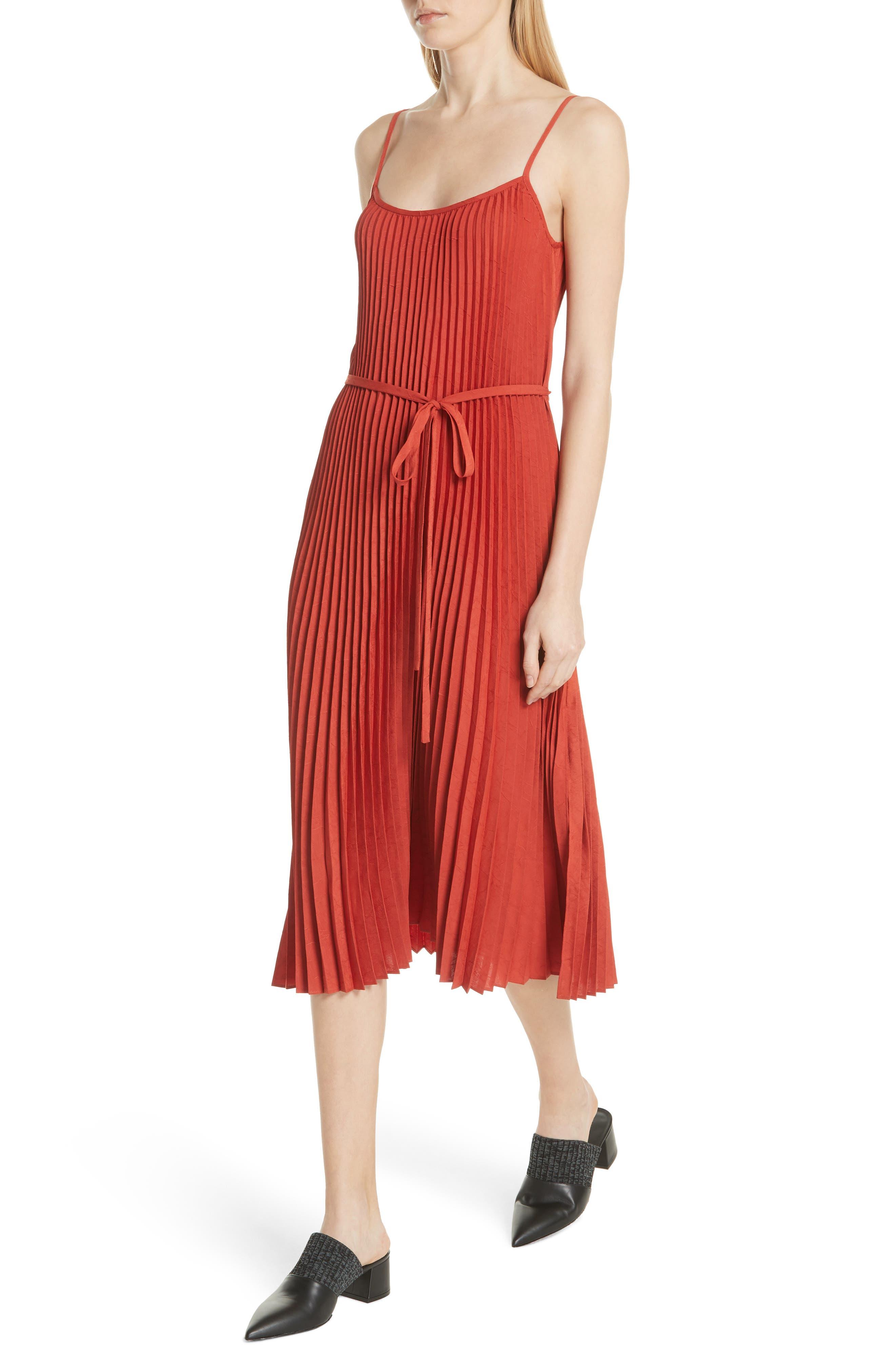 Pleated Cami Dress,                             Alternate thumbnail 4, color,                             Paprika