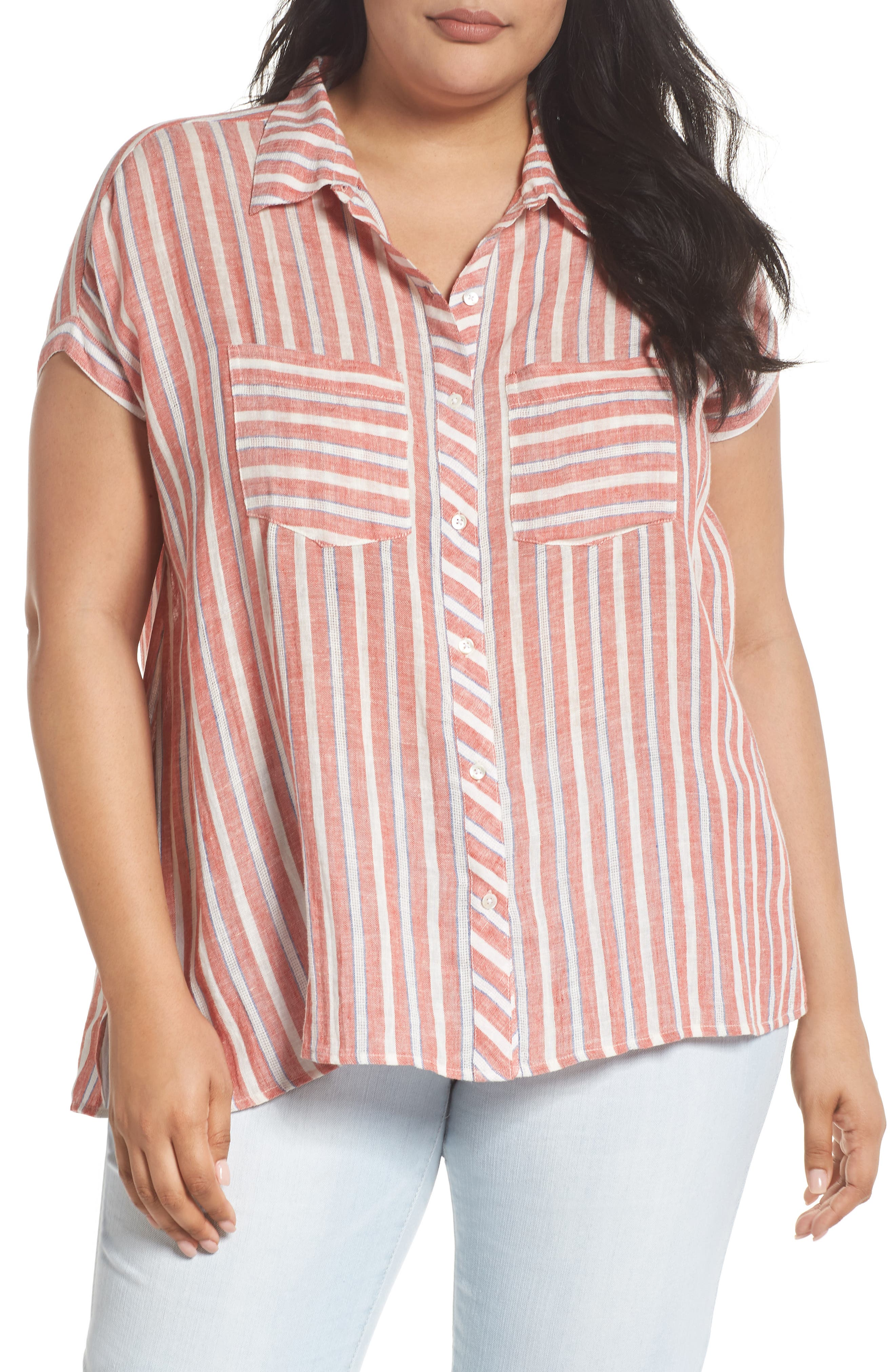 Tie Back Stripe Shirt,                             Main thumbnail 1, color,                             Red Multi