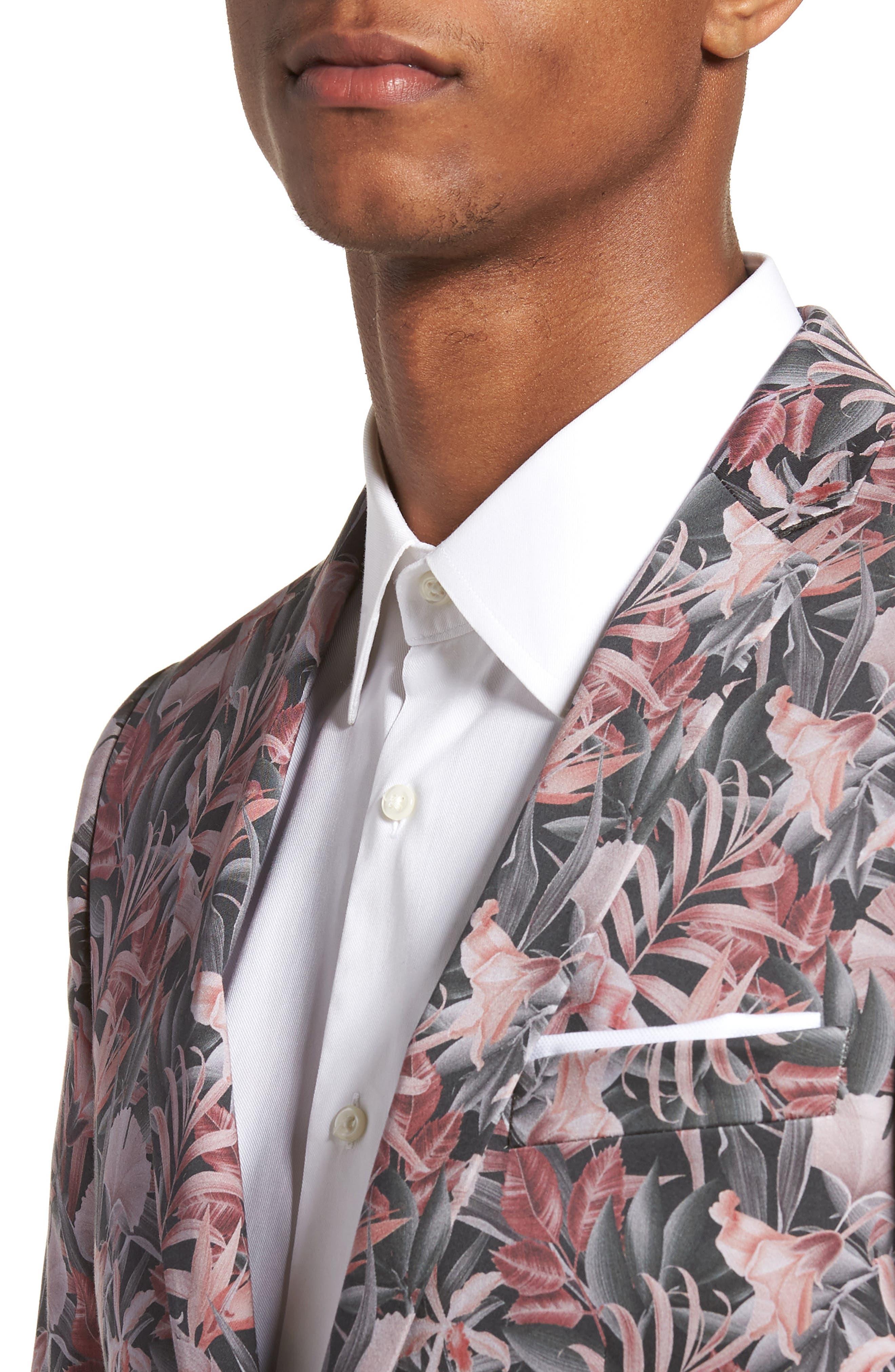 Ultra Skinny Fit Hibiscus Print Suit Jacket,                             Alternate thumbnail 4, color,                             Pink Multi