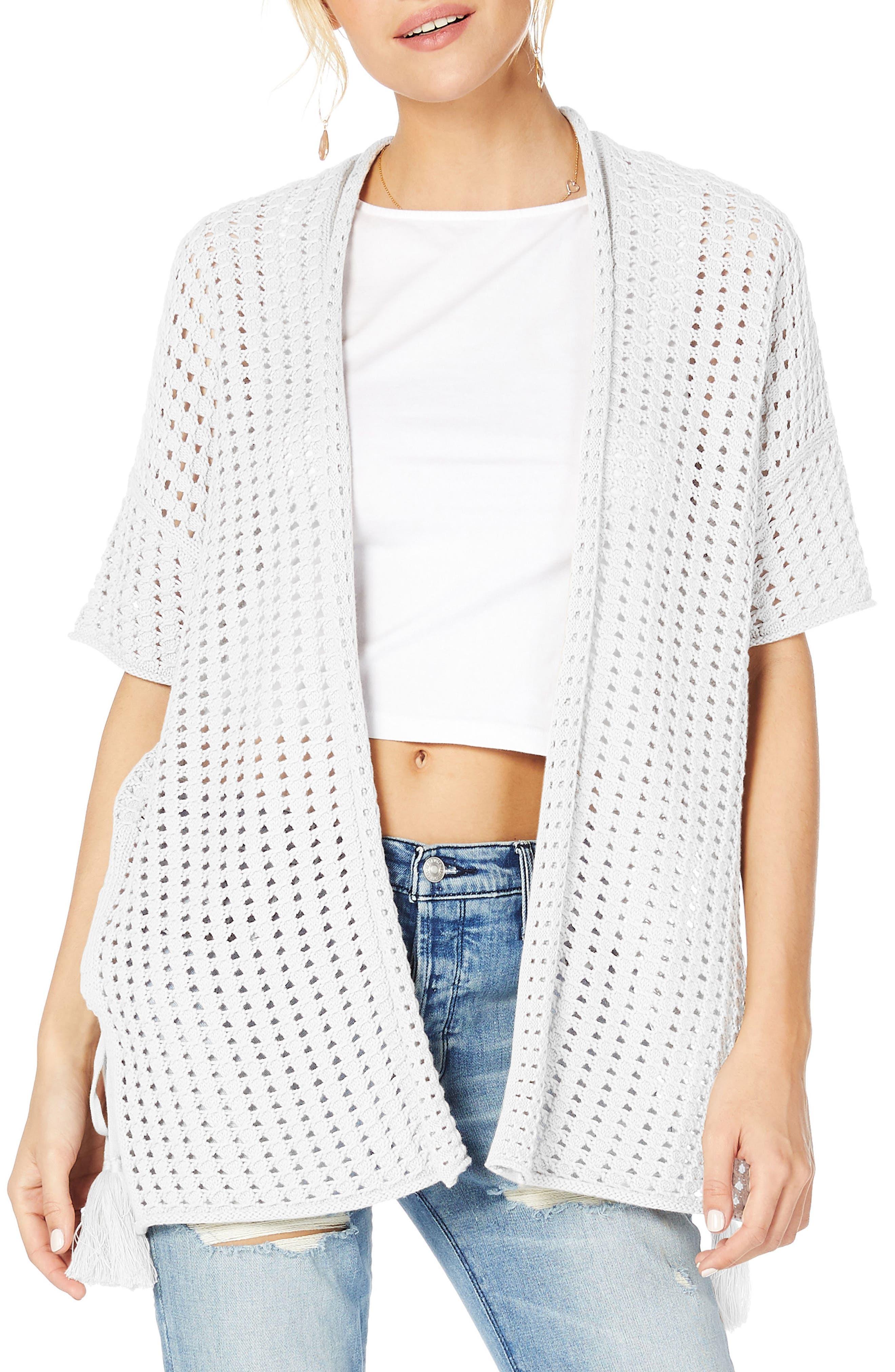 Open Cotton Sweater,                             Main thumbnail 1, color,                             White