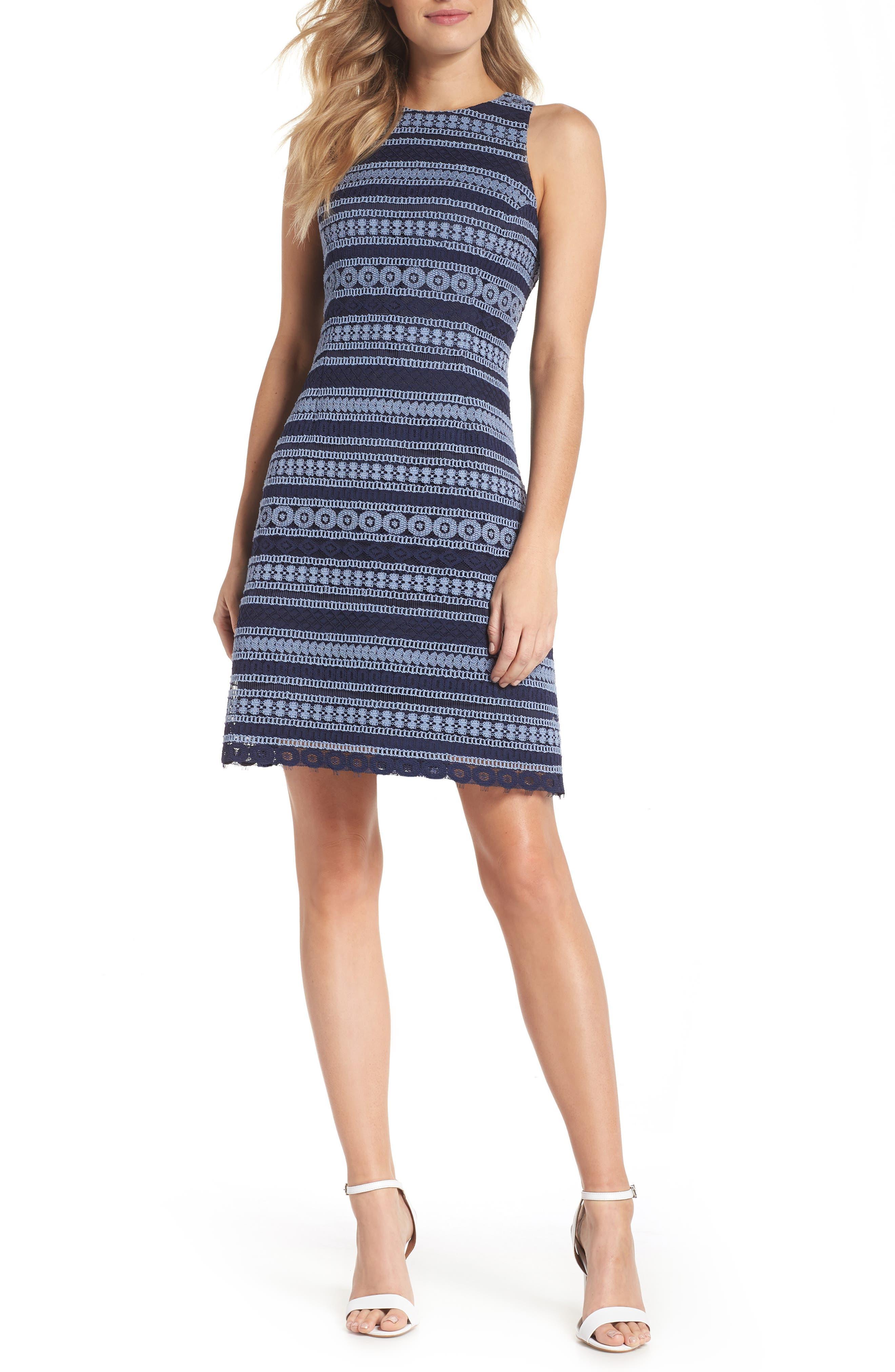 Stripe Racerback Lace Dress,                             Main thumbnail 1, color,                             Navy/ Blue