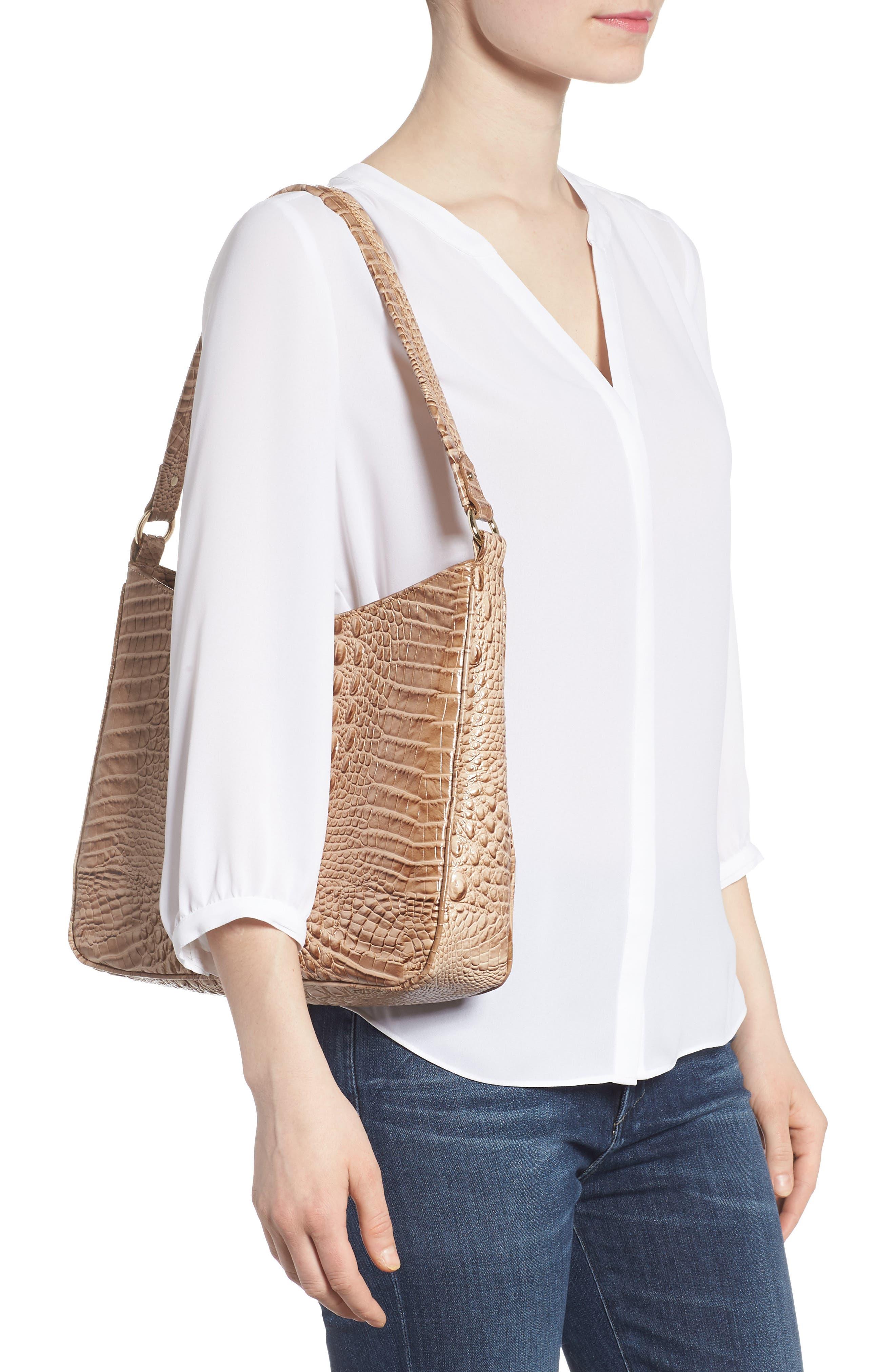 Nadia Croc Embossed Leather Shoulder Bag,                             Alternate thumbnail 2, color,                             Morel