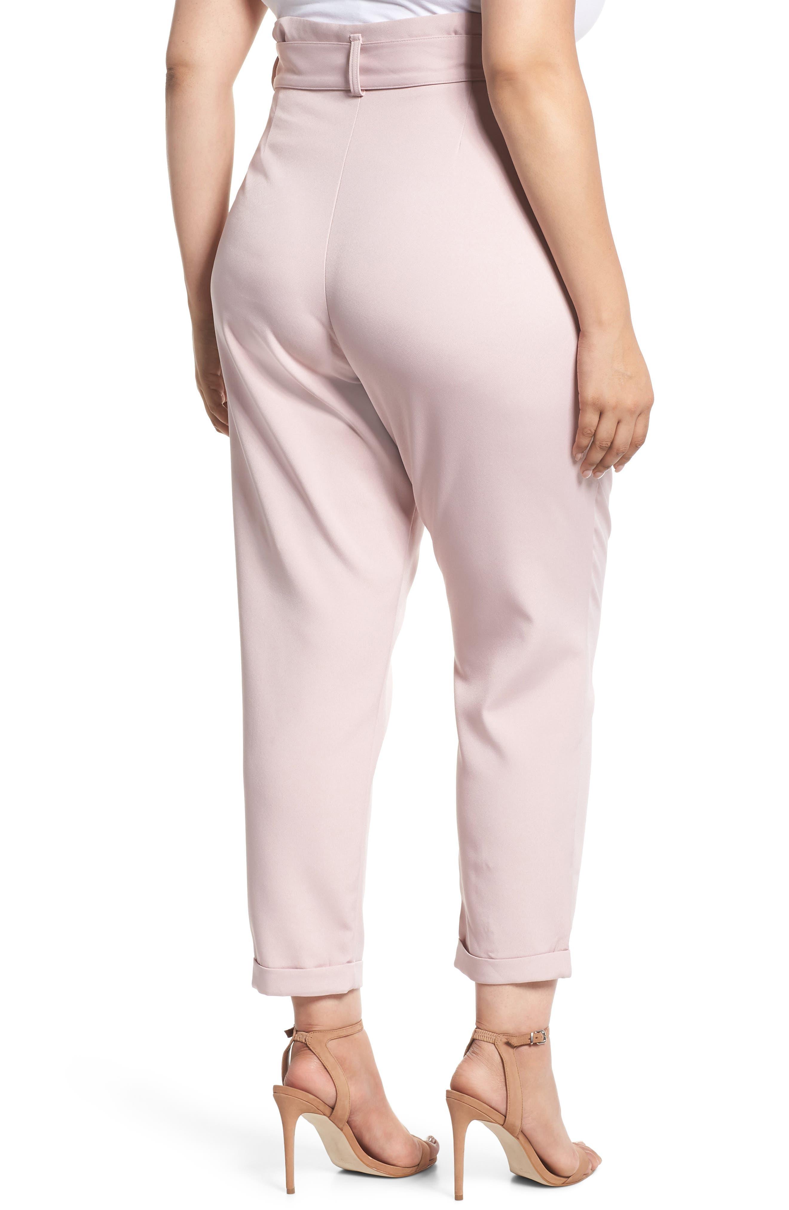 Belted Peg Trousers,                             Alternate thumbnail 2, color,                             Blush