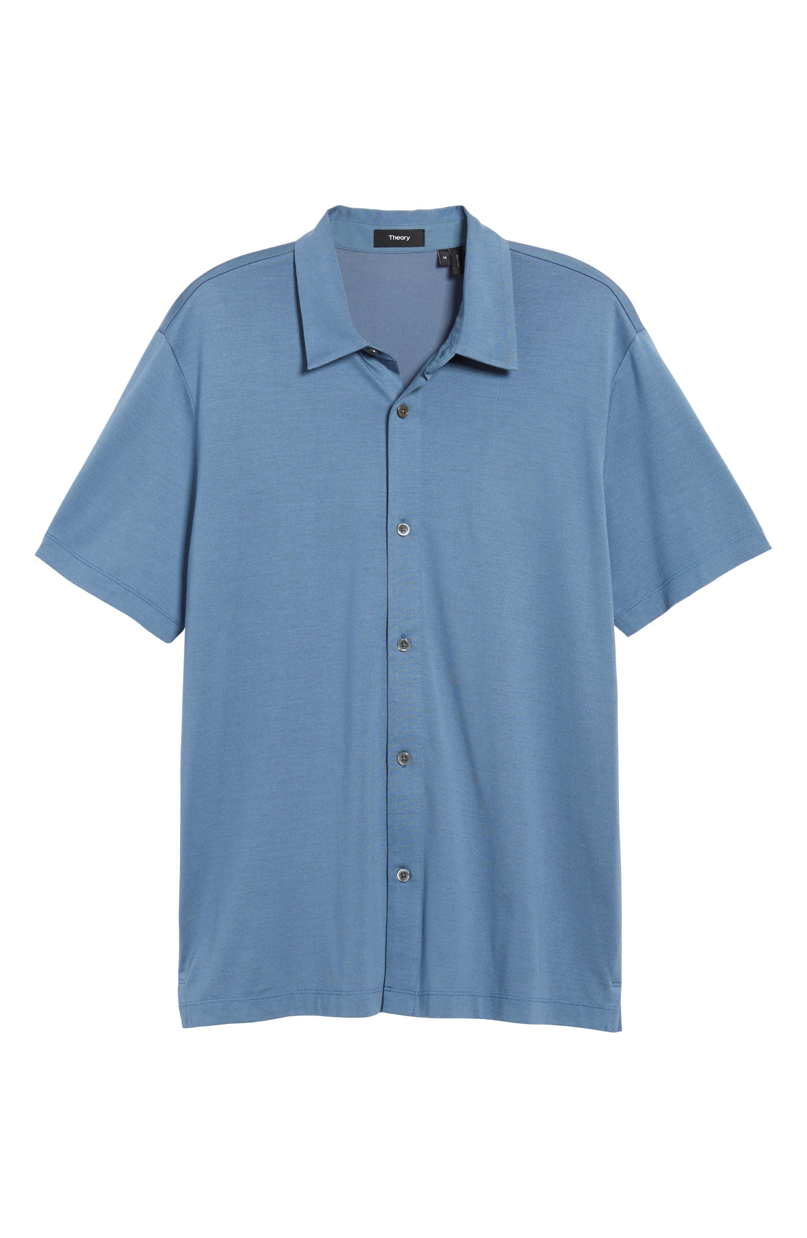 Incisive Silk & Cotton Short Sleeve Sport Shirt,                             Alternate thumbnail 6, color,                             Iris