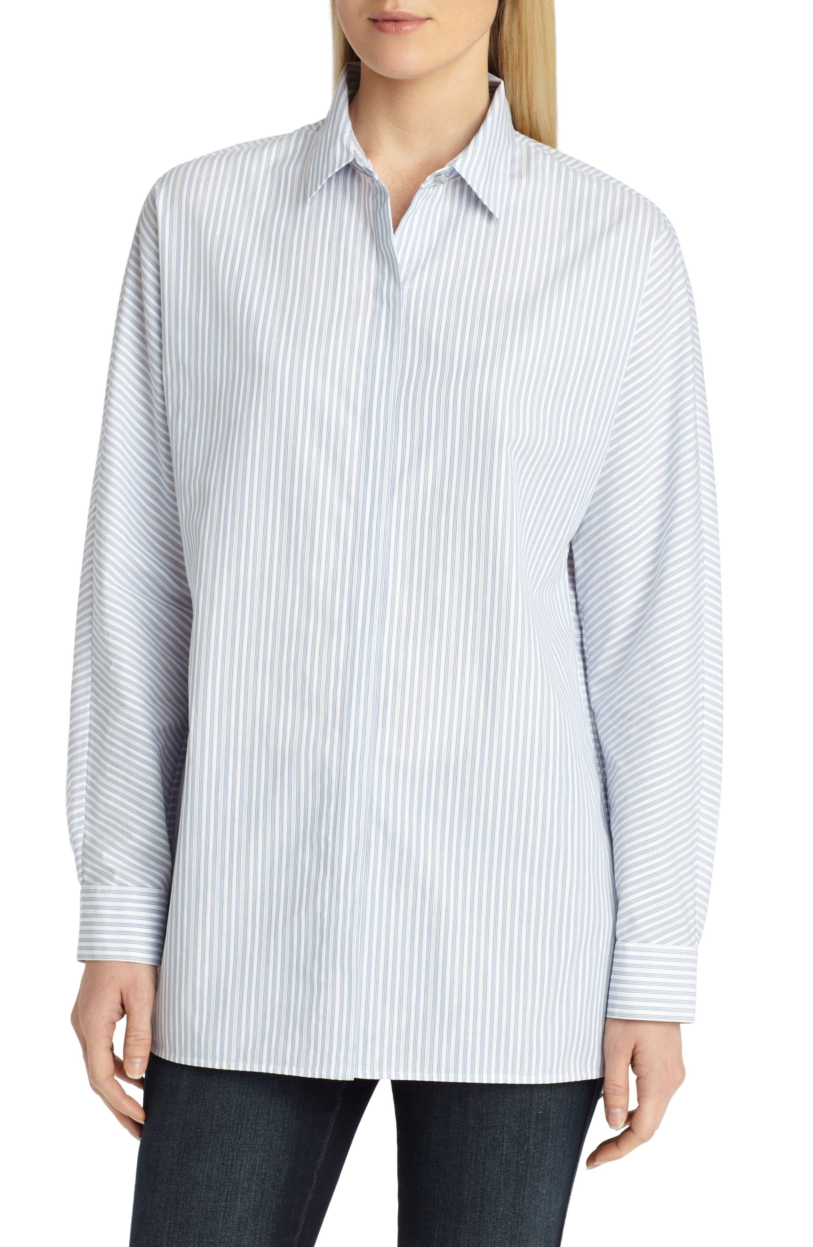 Alyssa Metallic Stripe Blouse,                         Main,                         color, Periwinkle Multi