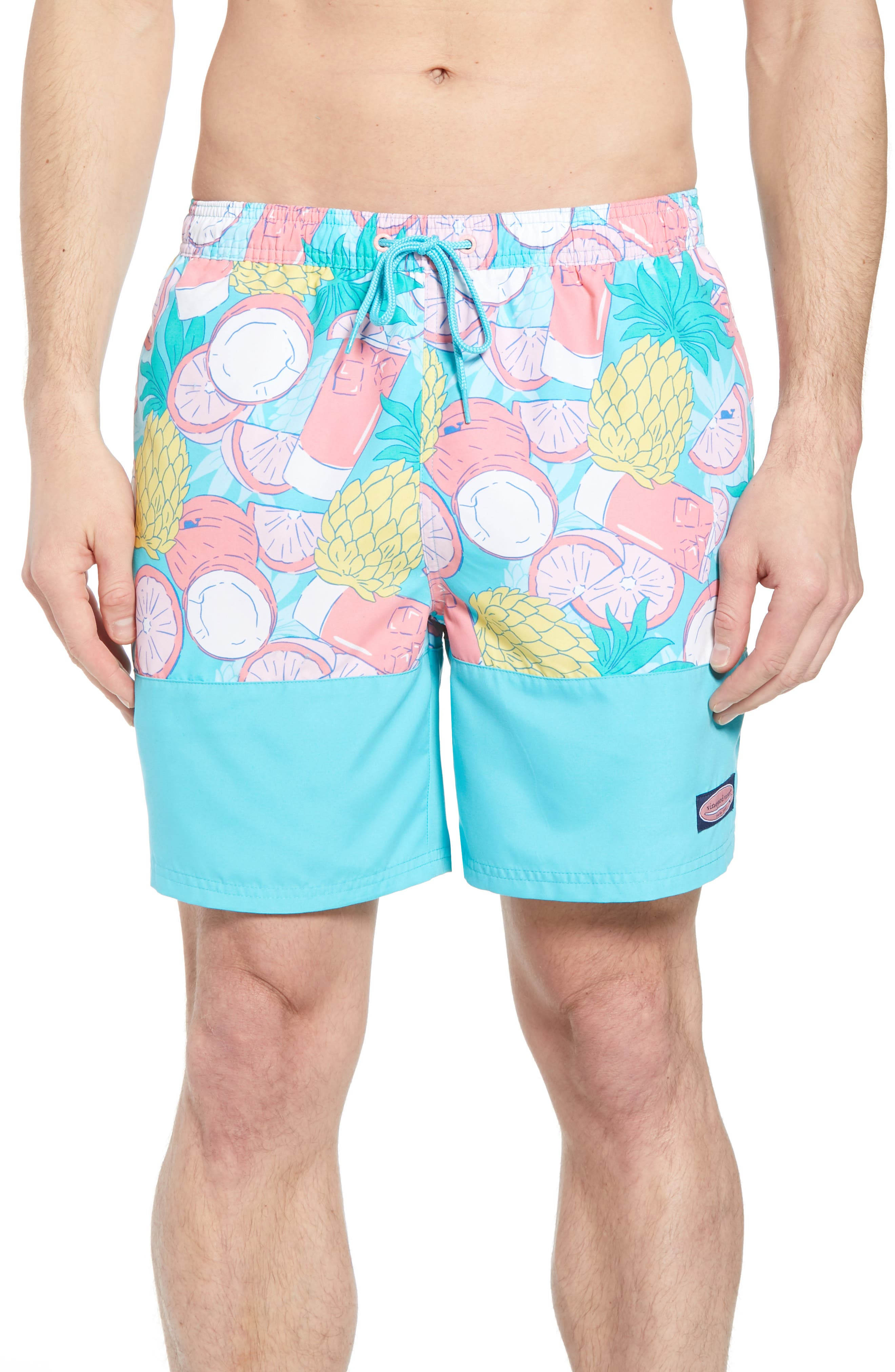 Chappy Pieced Bahama Mama Swim Trunks,                         Main,                         color, Turquoise