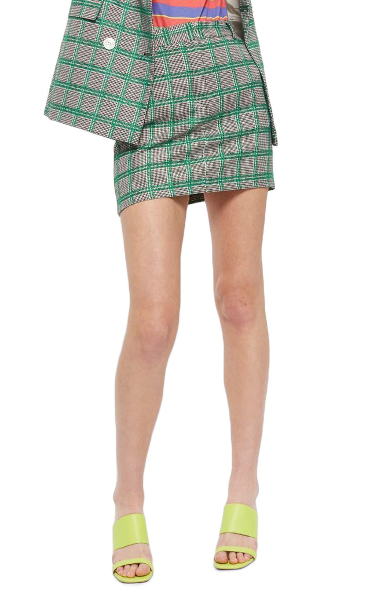 Check Pelmet Skirt,                             Main thumbnail 1, color,                             Green Multi