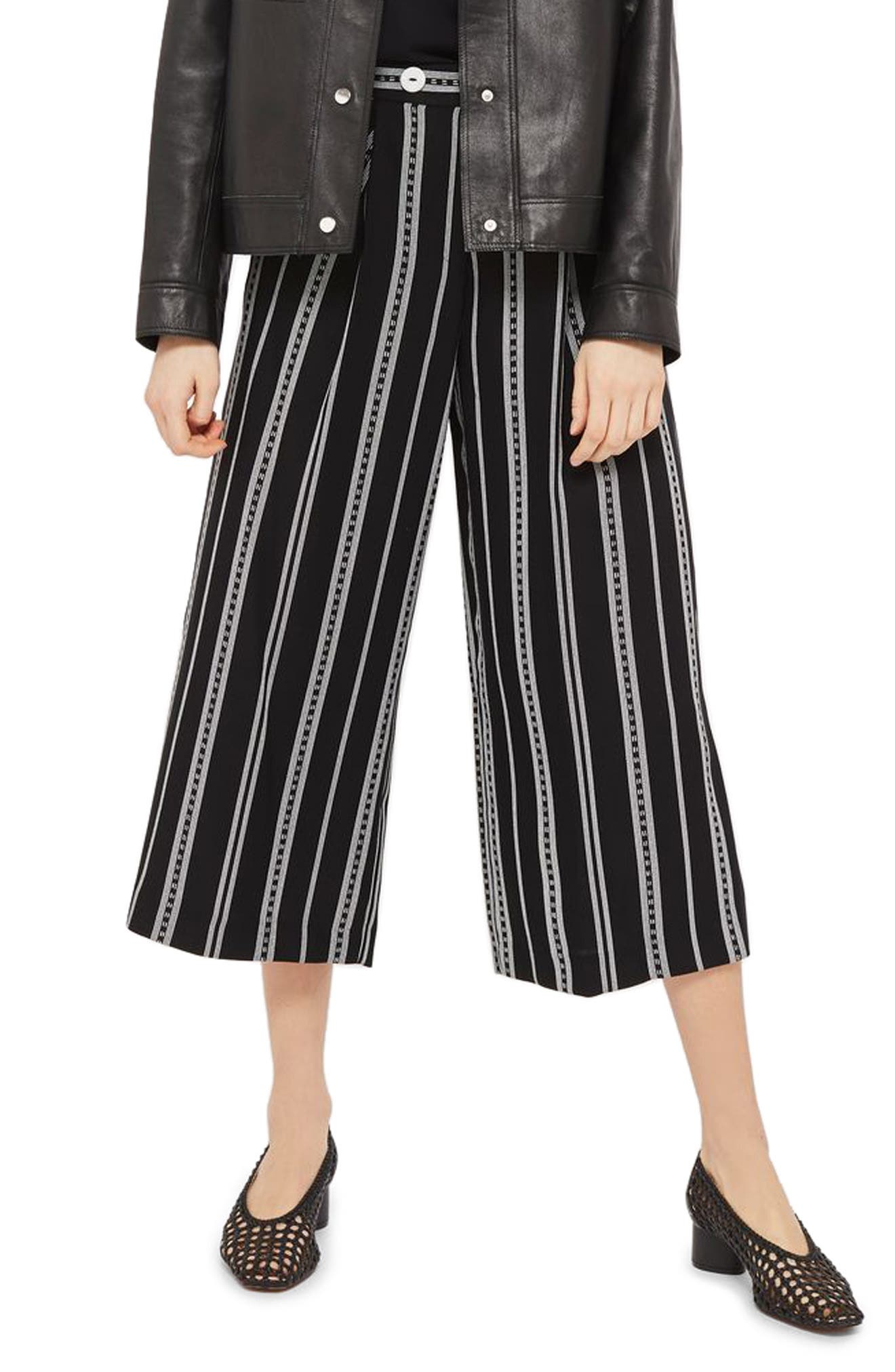 Crop Wide Leg Stripe Trousers,                         Main,                         color, Black Multi