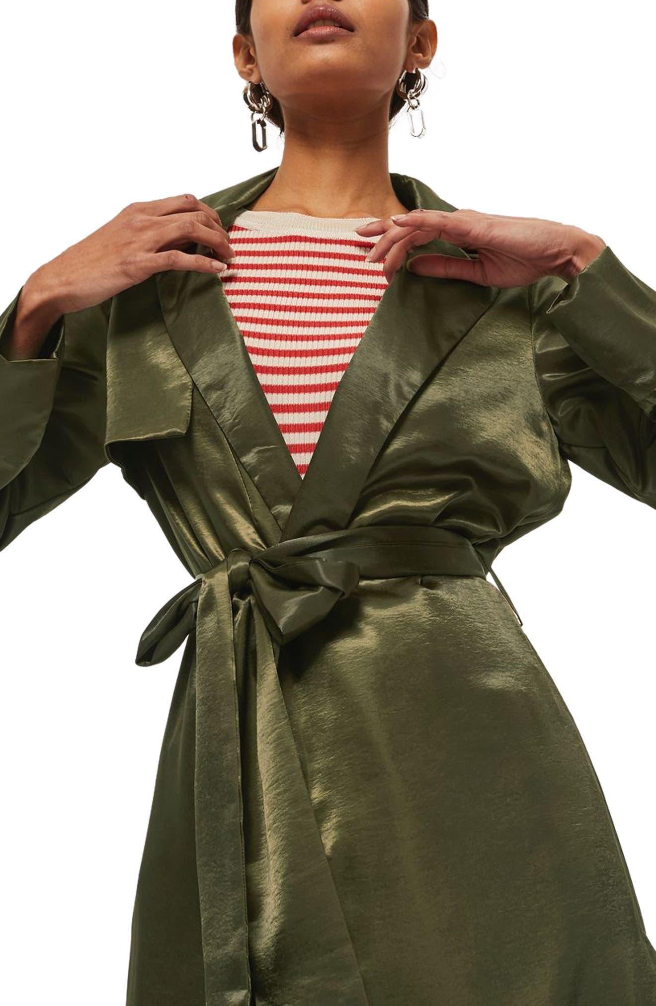 Belted Satin Duster Coat,                             Alternate thumbnail 3, color,                             Olive