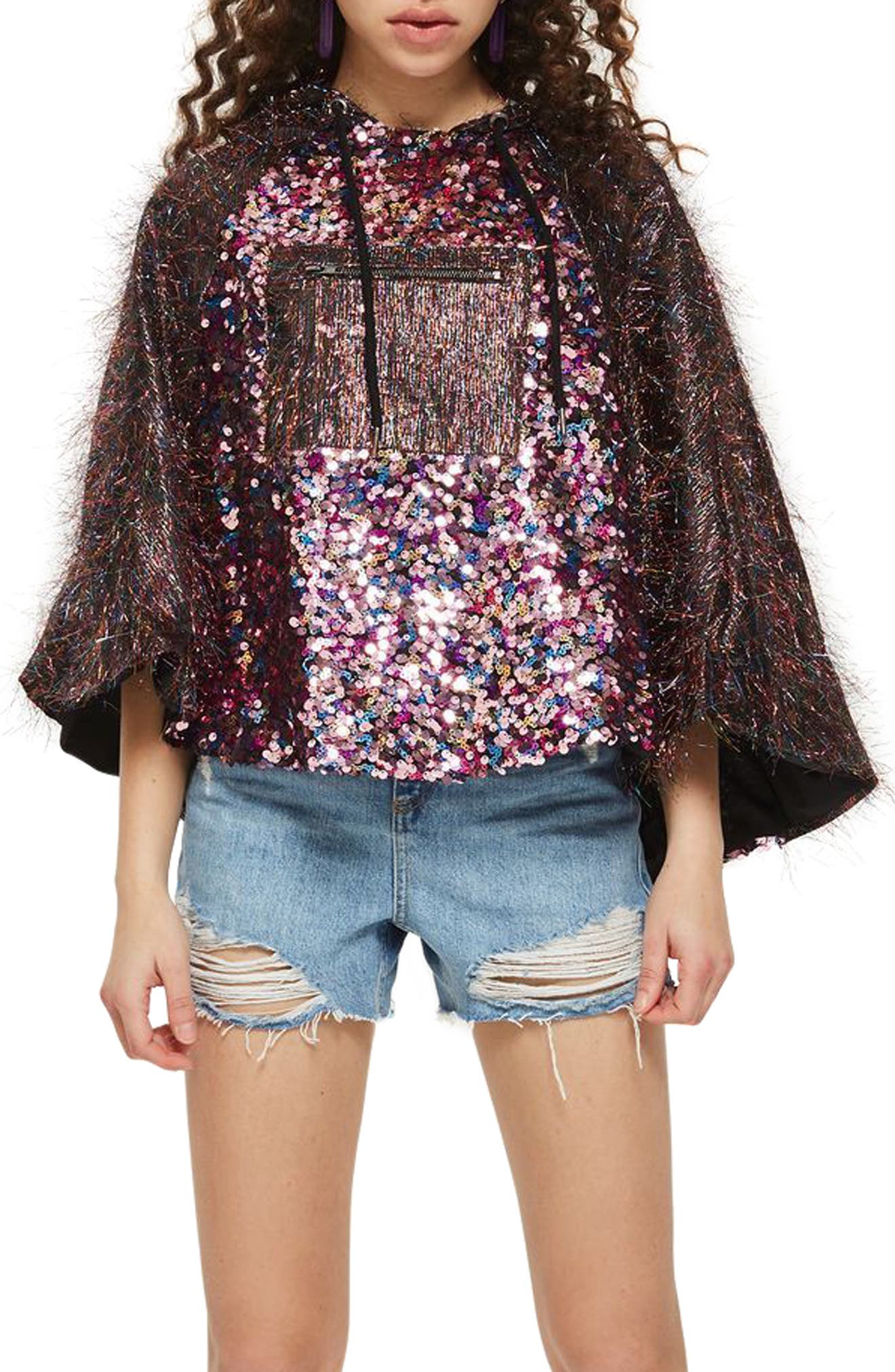 Topshop Sequin Poncho