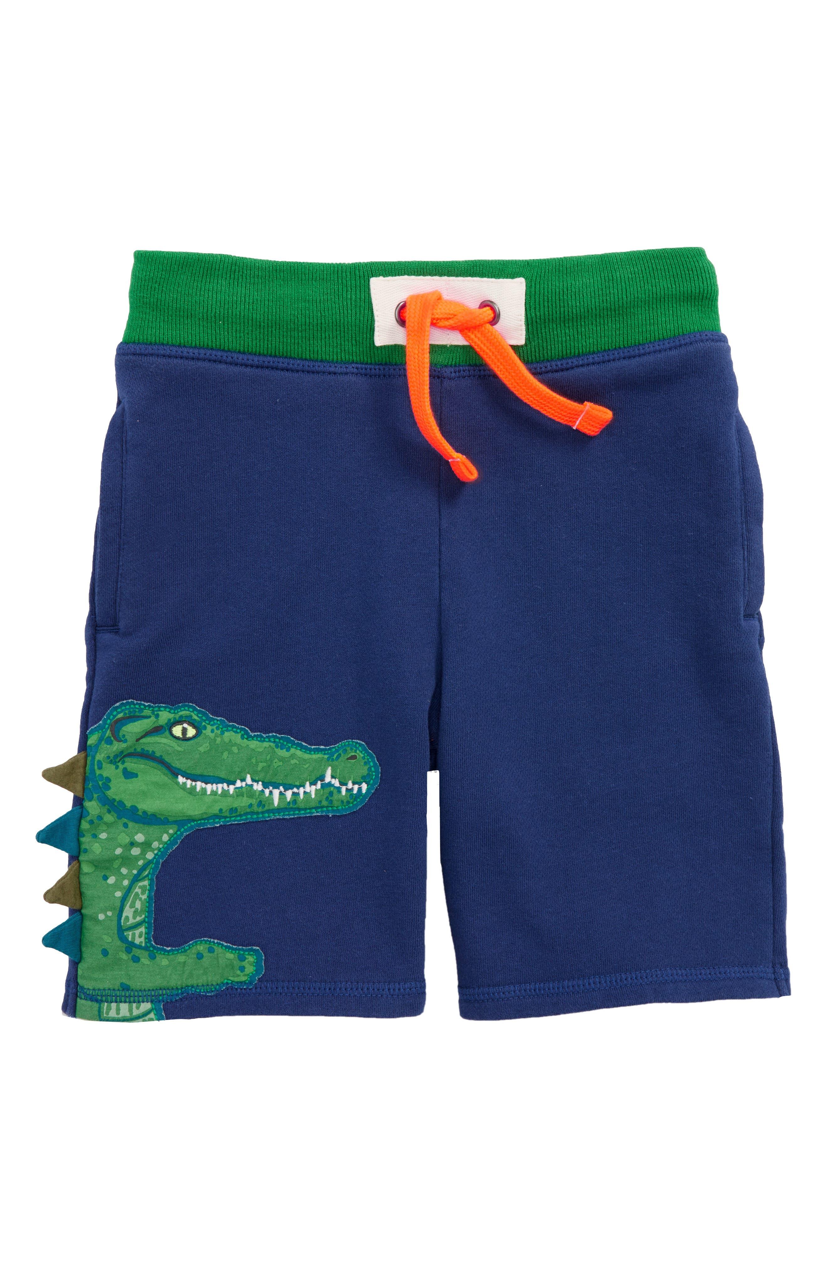 Crocodile Appliqué Sweat Shorts,                             Main thumbnail 1, color,                             Beacon Blue Crocodile