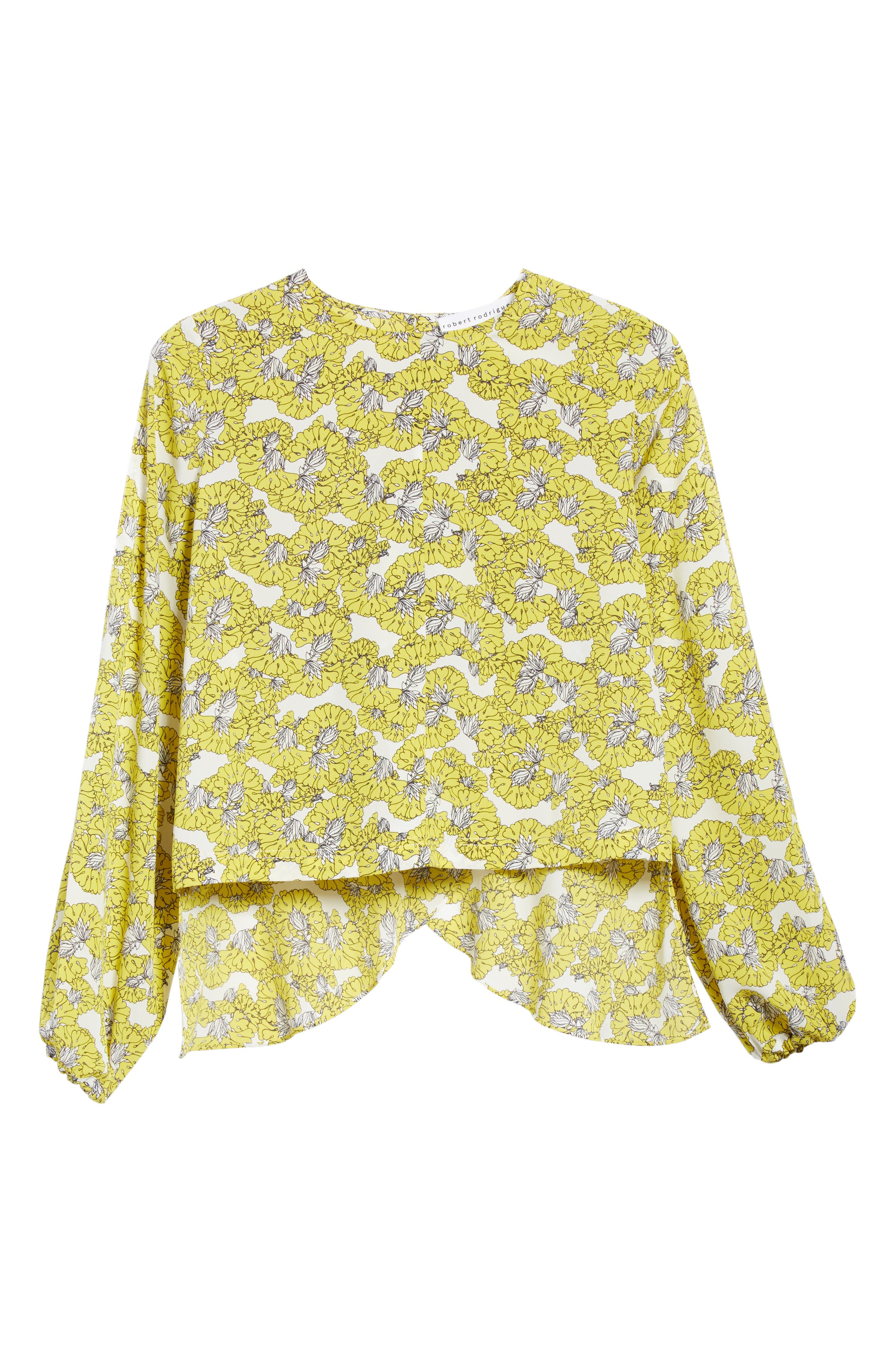 Floral Print Ruffle Back Top,                             Alternate thumbnail 6, color,                             Yellow Floral