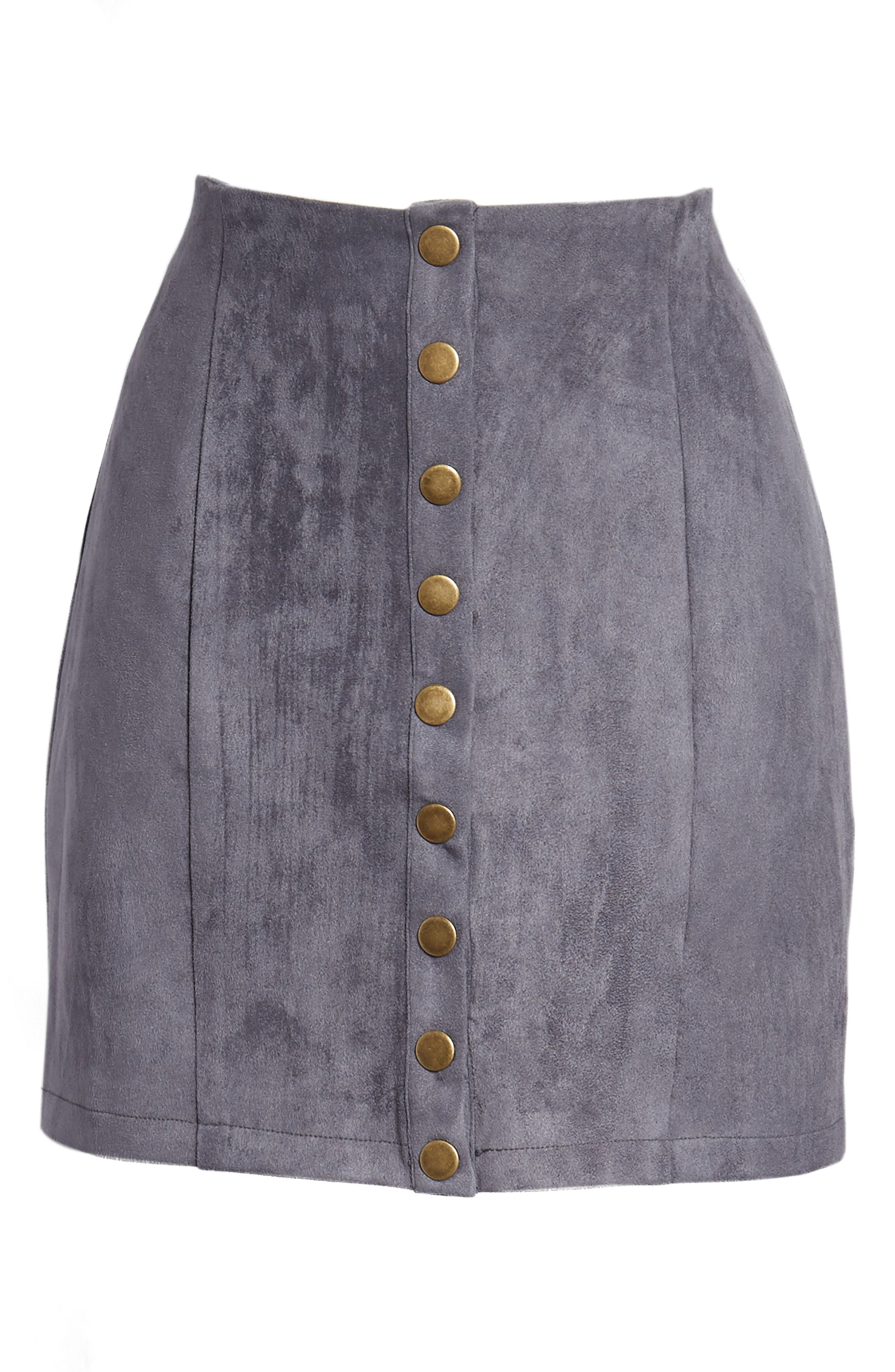 Bishop + Young Front Snap Faux Suede Miniskirt,                             Alternate thumbnail 6, color,                             Slate Blue