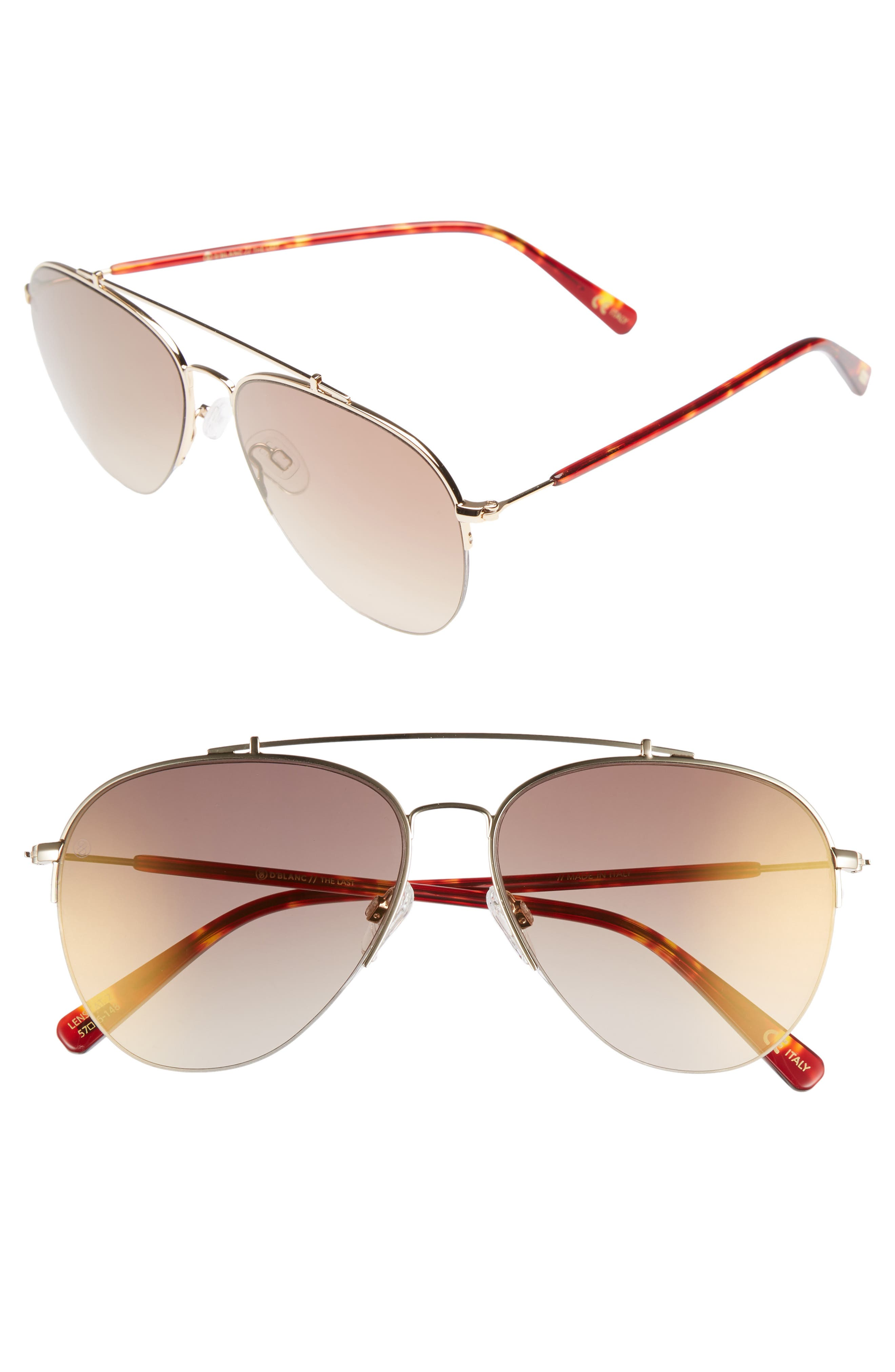 D'BLANC The Last 57mm Aviator Sunglasses,                         Main,                         color, Toffee/ Brown