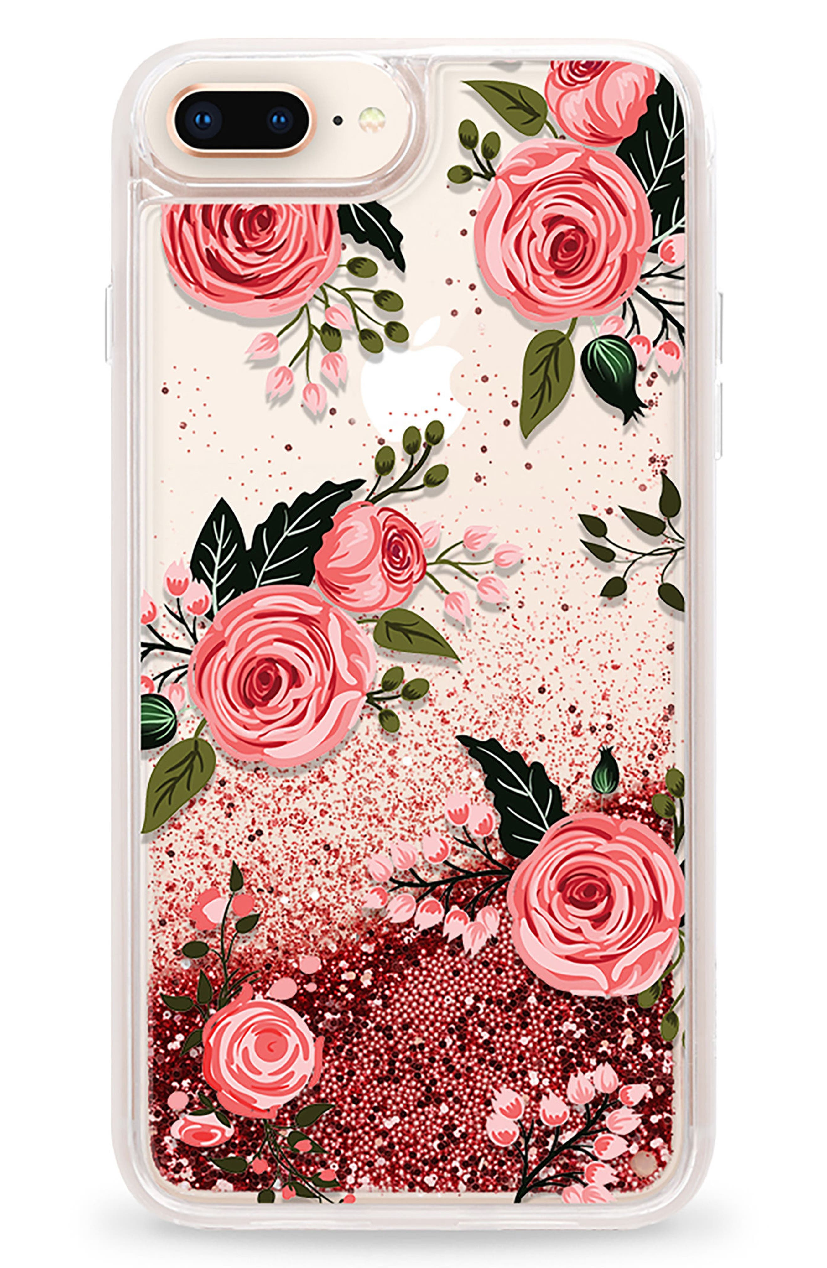 Pink Glitter Flowers iPhone 7/8 & 7/8 Plus Case,                             Main thumbnail 1, color,                             Pink