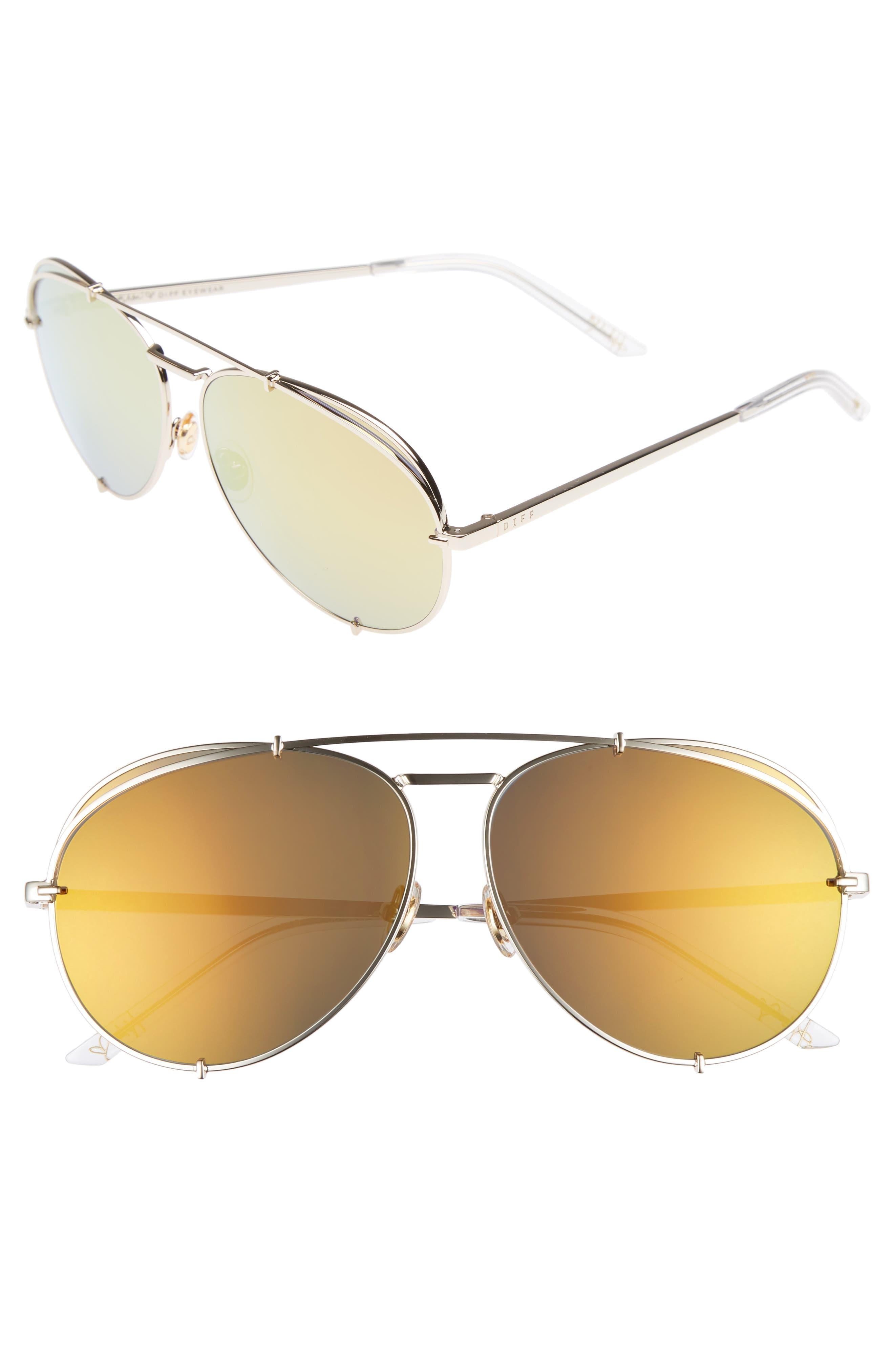 x Khloé Koko 63mm Oversize Aviator Sunglasses,                         Main,                         color, Gold/ Red
