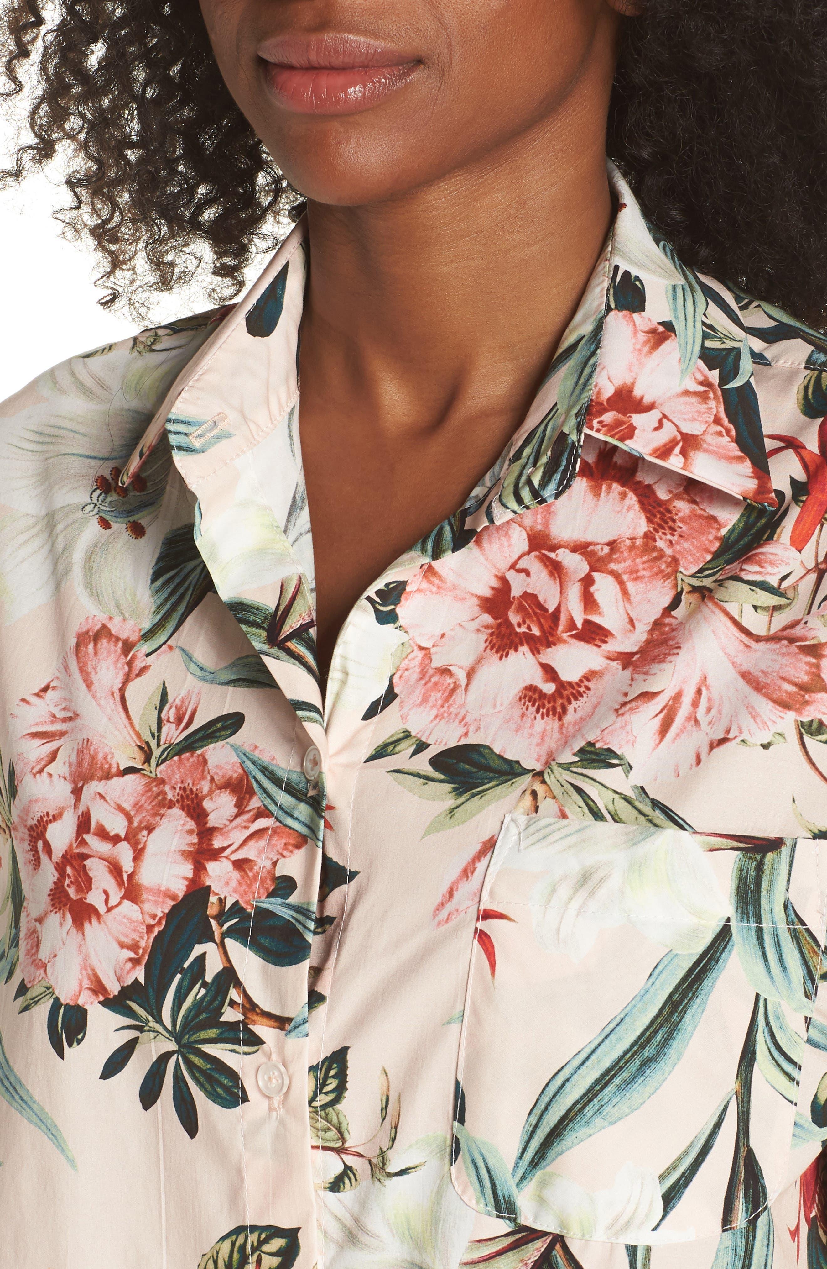 Gigi Stripe Pajama Top,                             Alternate thumbnail 4, color,                             Lt. Pink Floral