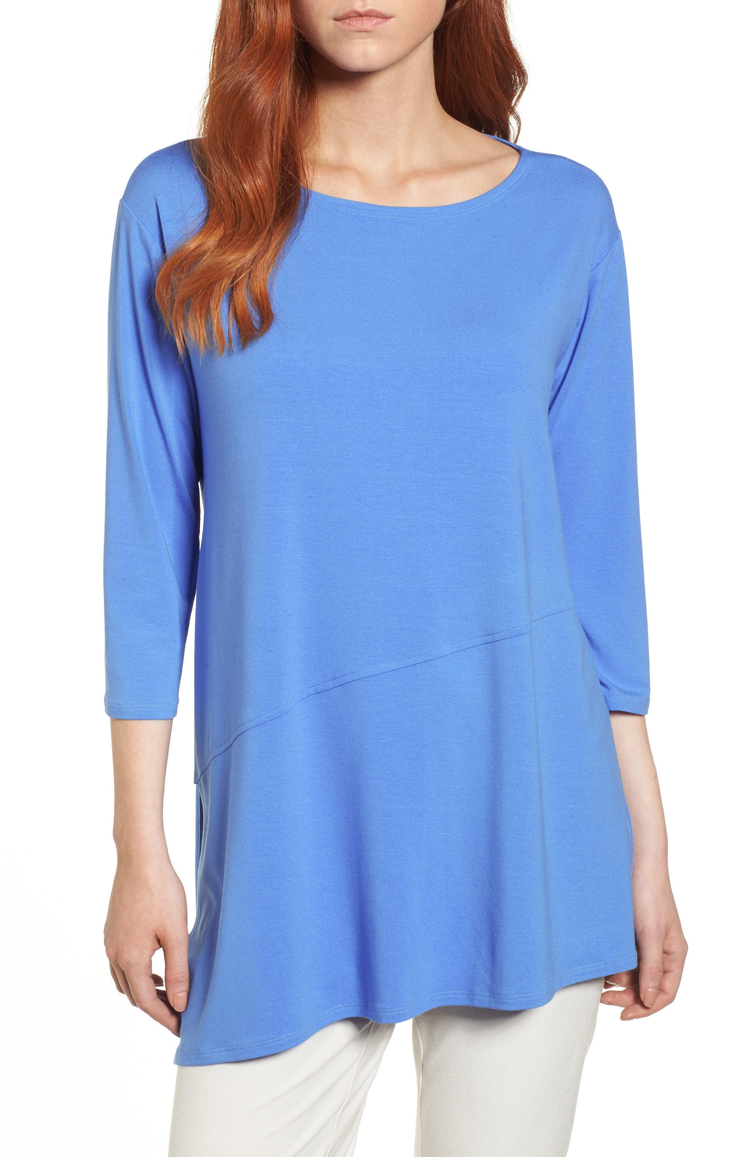 Asymmetrical Jersey Top,                             Main thumbnail 1, color,                             Blue Bell