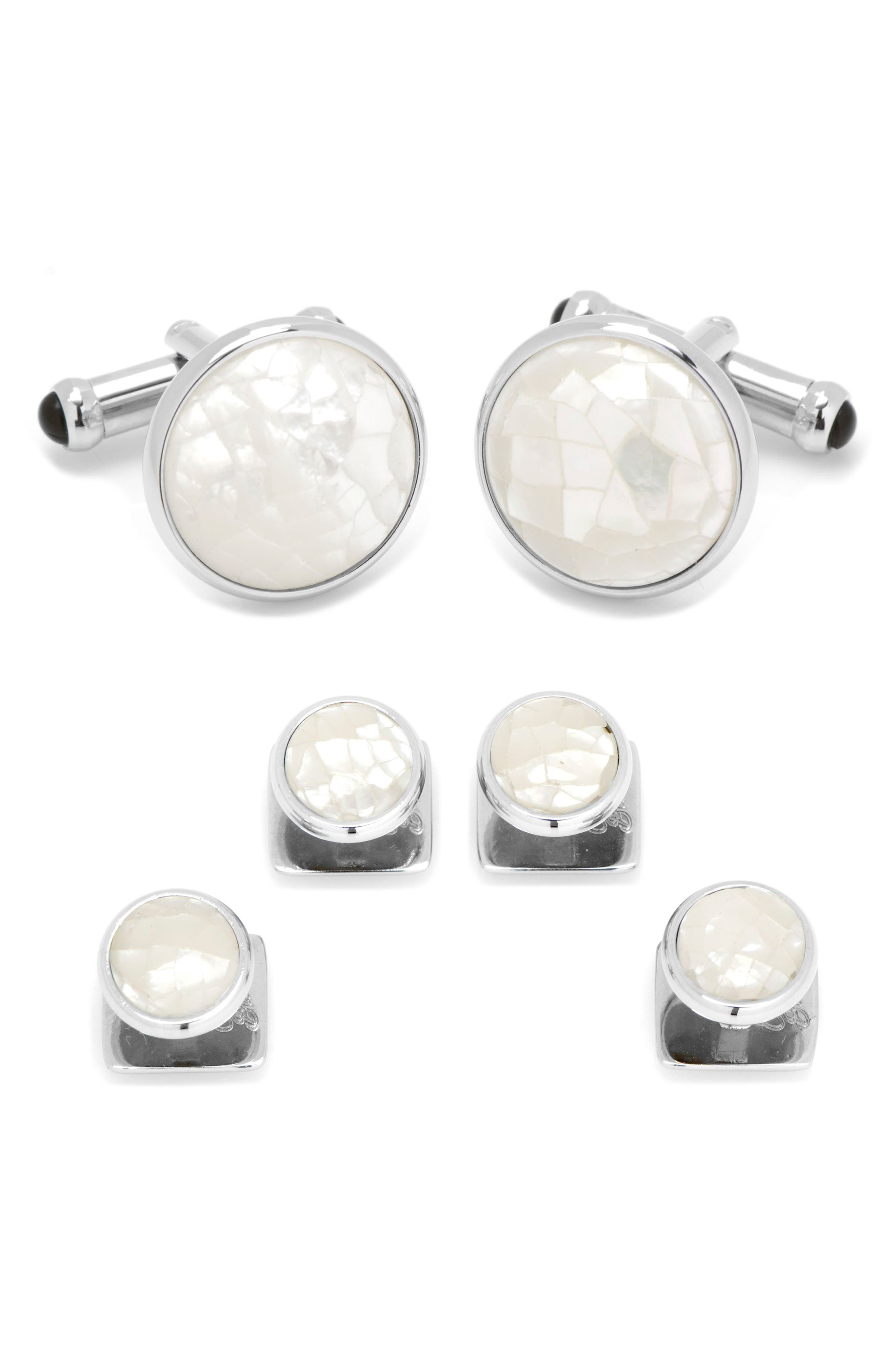 Mother-of-Pearl Cuff Link & Shirt Stud Set,                         Main,                         color, Silver/ White