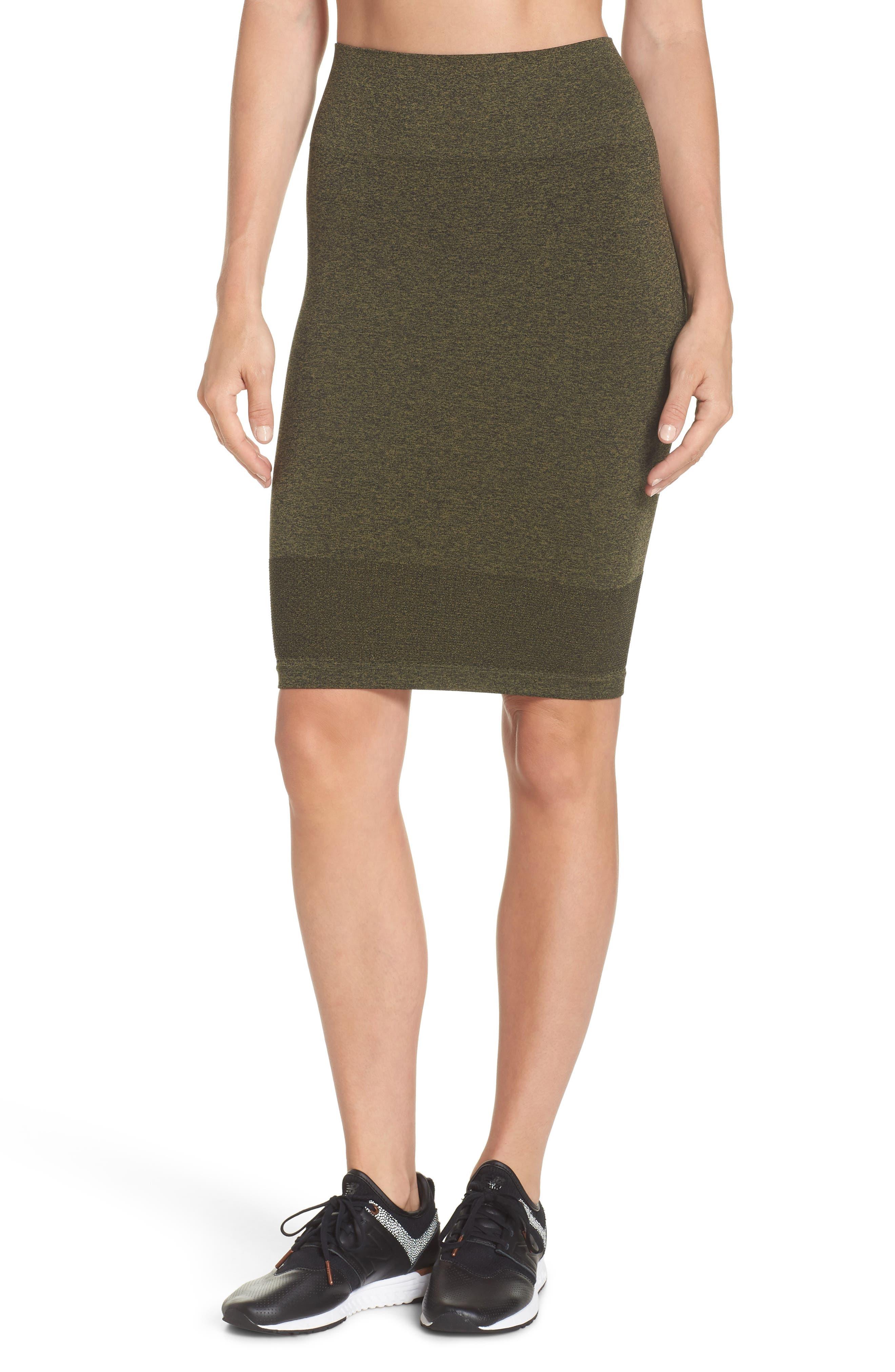 Aura Seamless Skirt,                             Main thumbnail 1, color,                             Deep Lichen Green/ Black