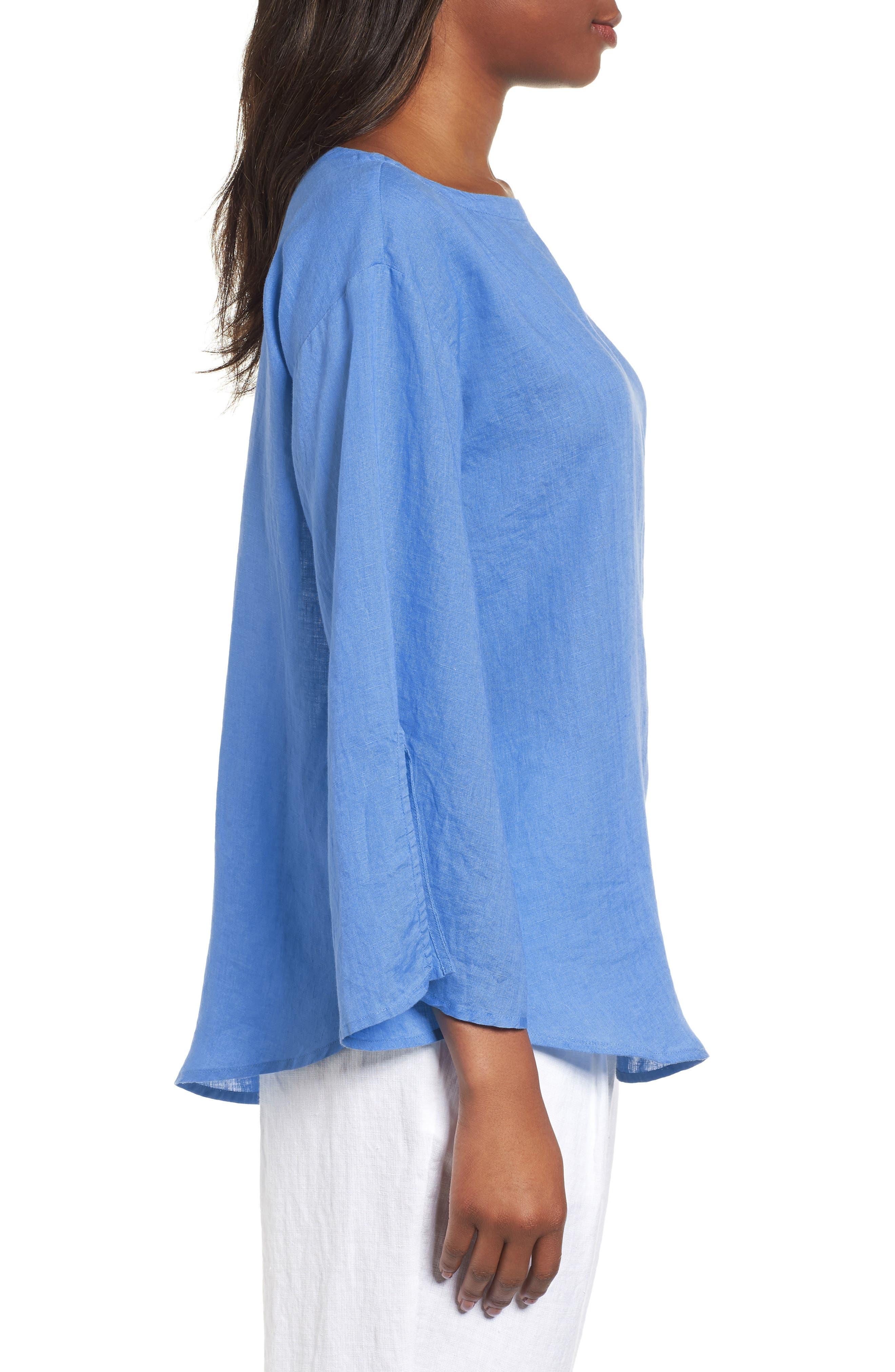 Woven Organic Linen Top,                             Alternate thumbnail 3, color,                             Bluebell